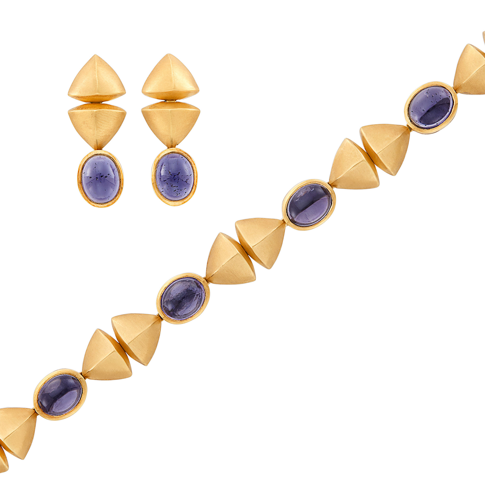 Lot image - Gold, Cabochon Iolite Bracelet and Pair of Pendant-Earrings