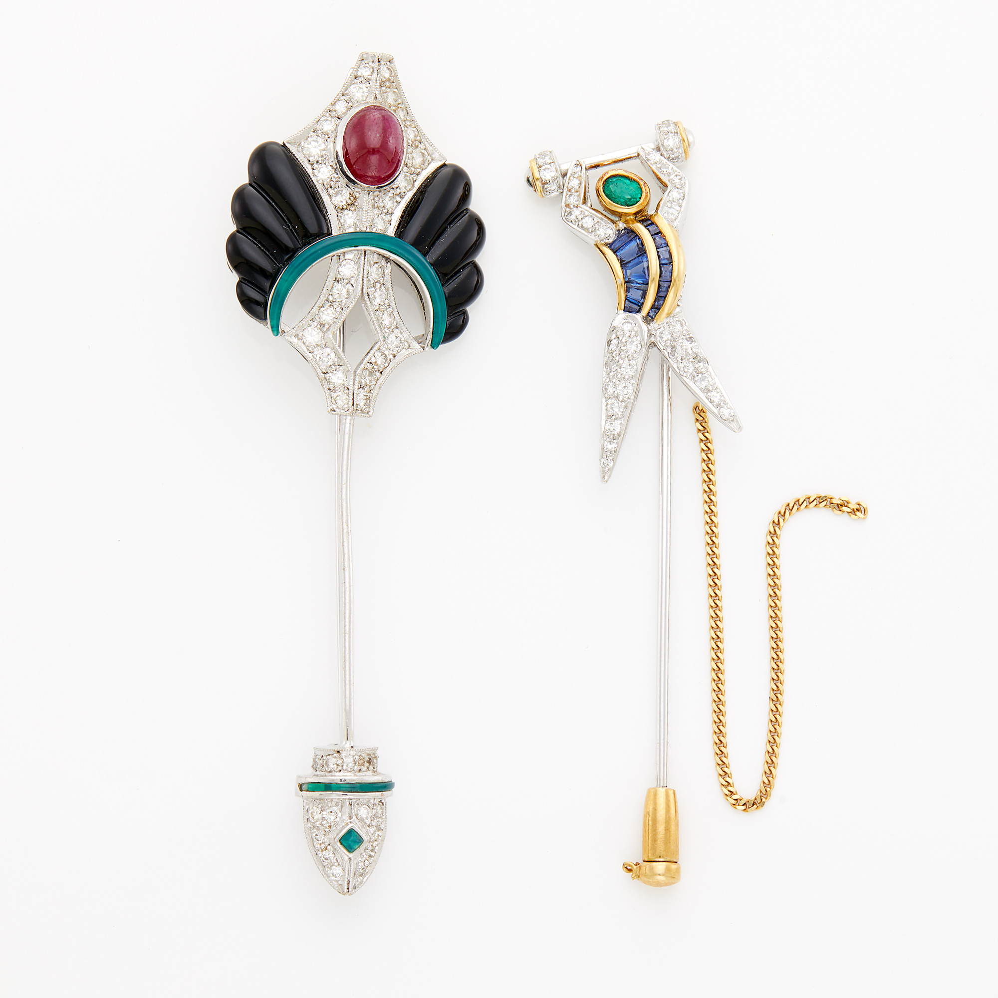 Lot image - Two White Gold, Diamond and Gem-Set Stick Pins