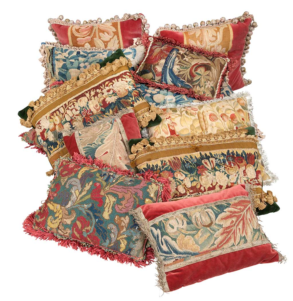 Lot image - Group of Twelve Aubusson Tapestry and Needlework Pillows