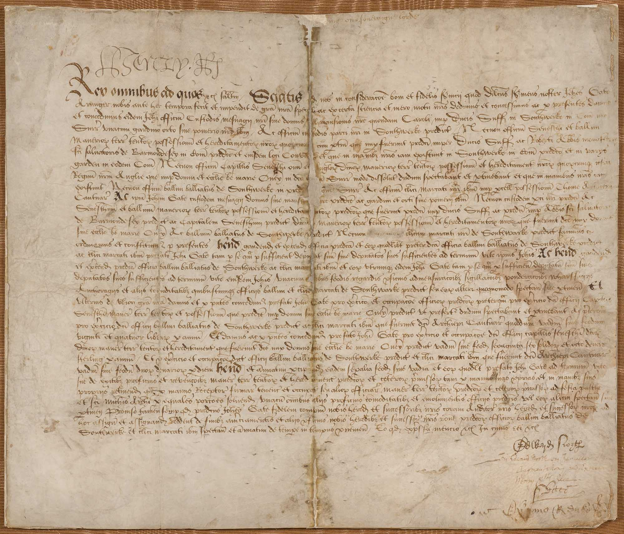 Lot image - HENRY VIII  Document signed [Henry R],