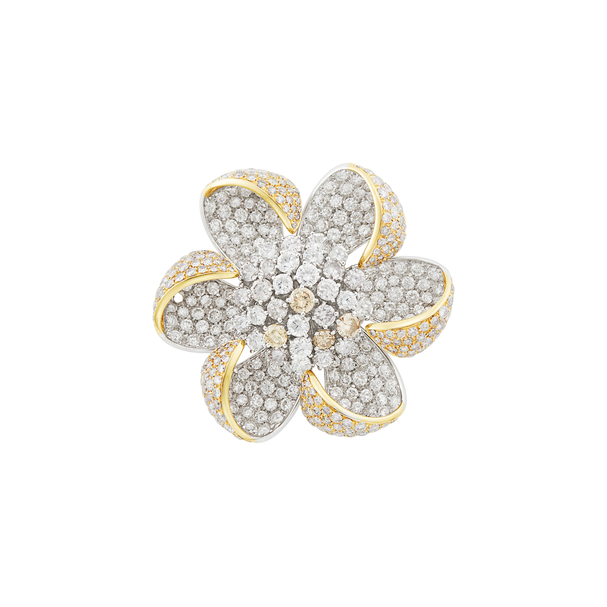 Lot image - Two-Color Gold, Diamond and Colored Diamond Flower Clip-Brooch