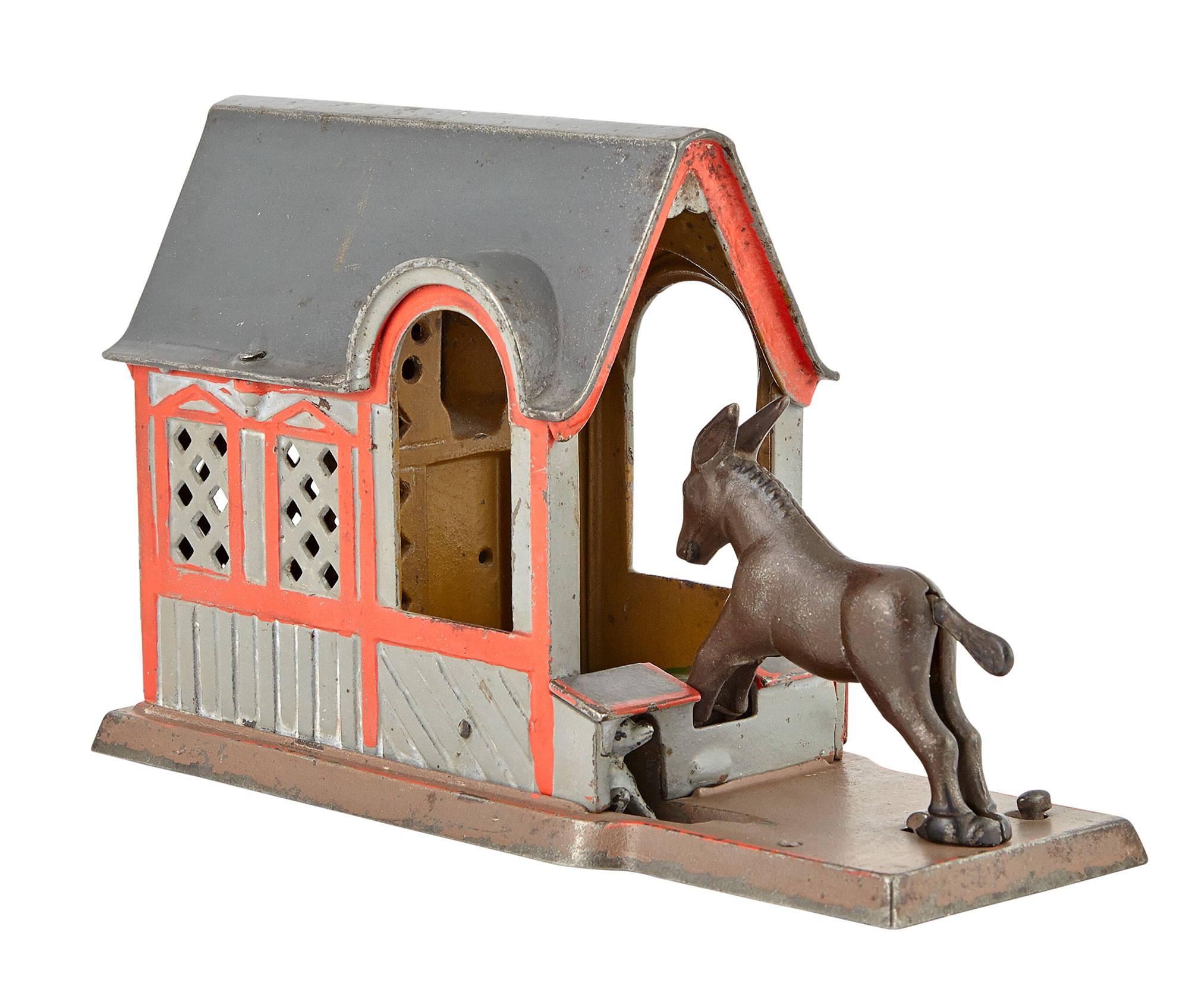 Lot image - Mule Entering the Barn Cast Iron Mechanical Bank