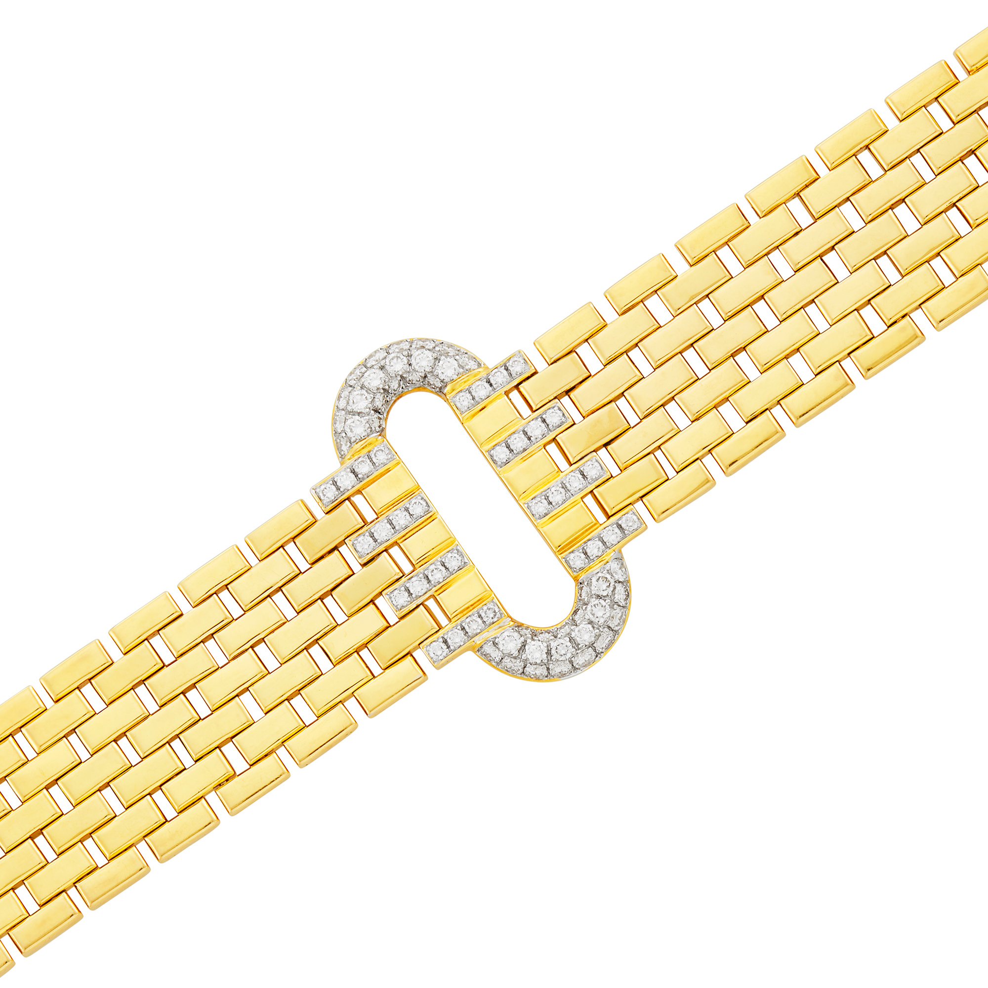 Lot image - Two-Color Gold and Diamond Bracelet