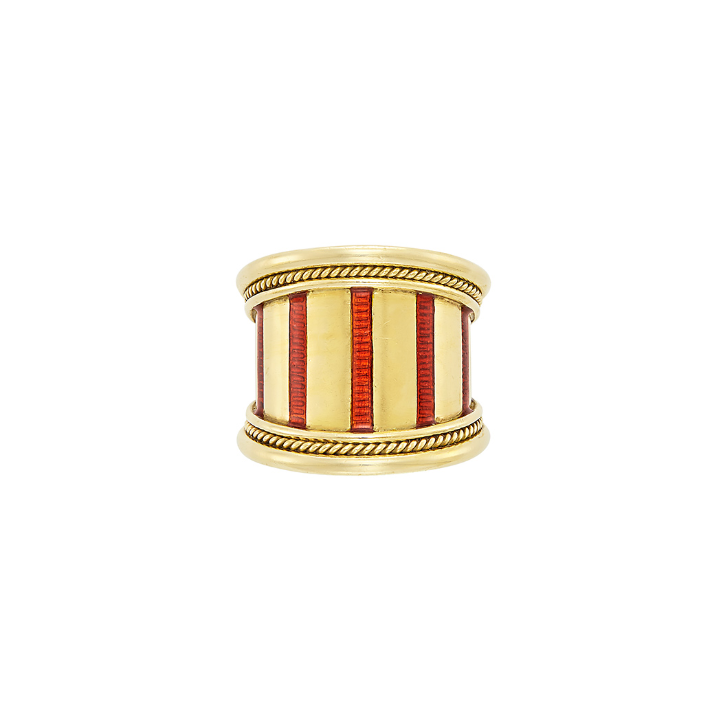 Lot image - Wide Gold and Red Enamel Band Ring, Elizabeth Gage