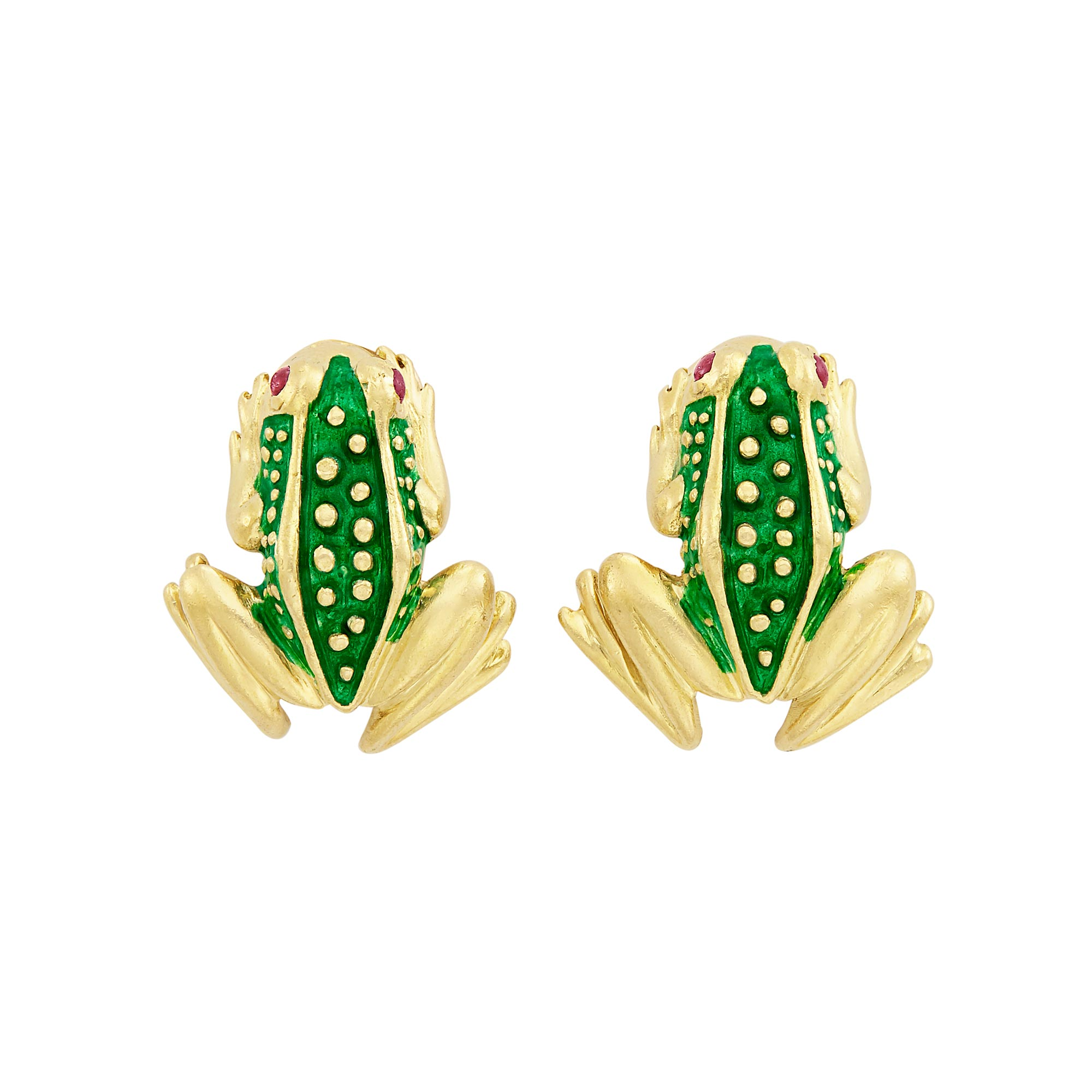 Lot image - Pair of Gold, Green Enamel, and Cabochon Ruby Frog Earclips, Boris LeBeau