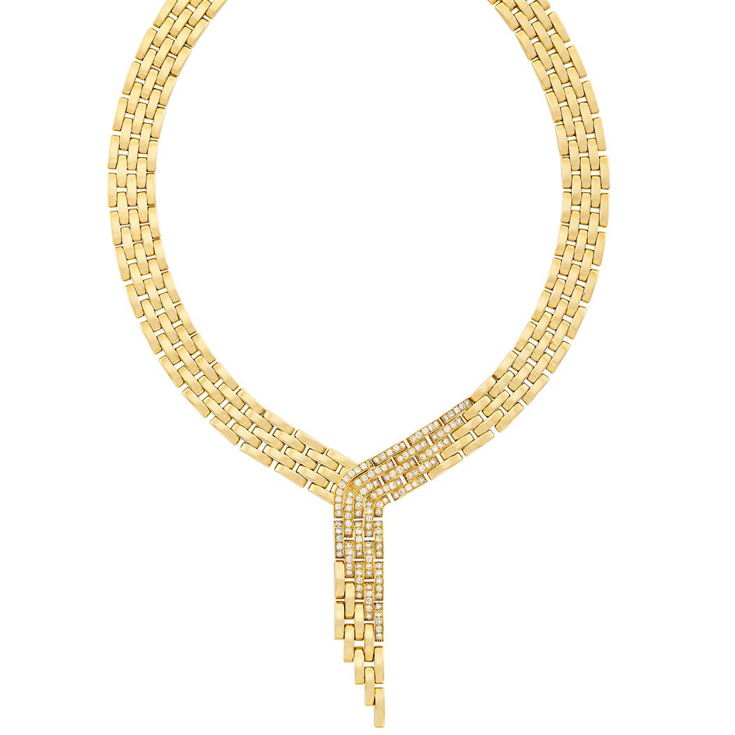 Lot image - Gold and Diamond Panther Link Fringe Necklace, Cartier, France