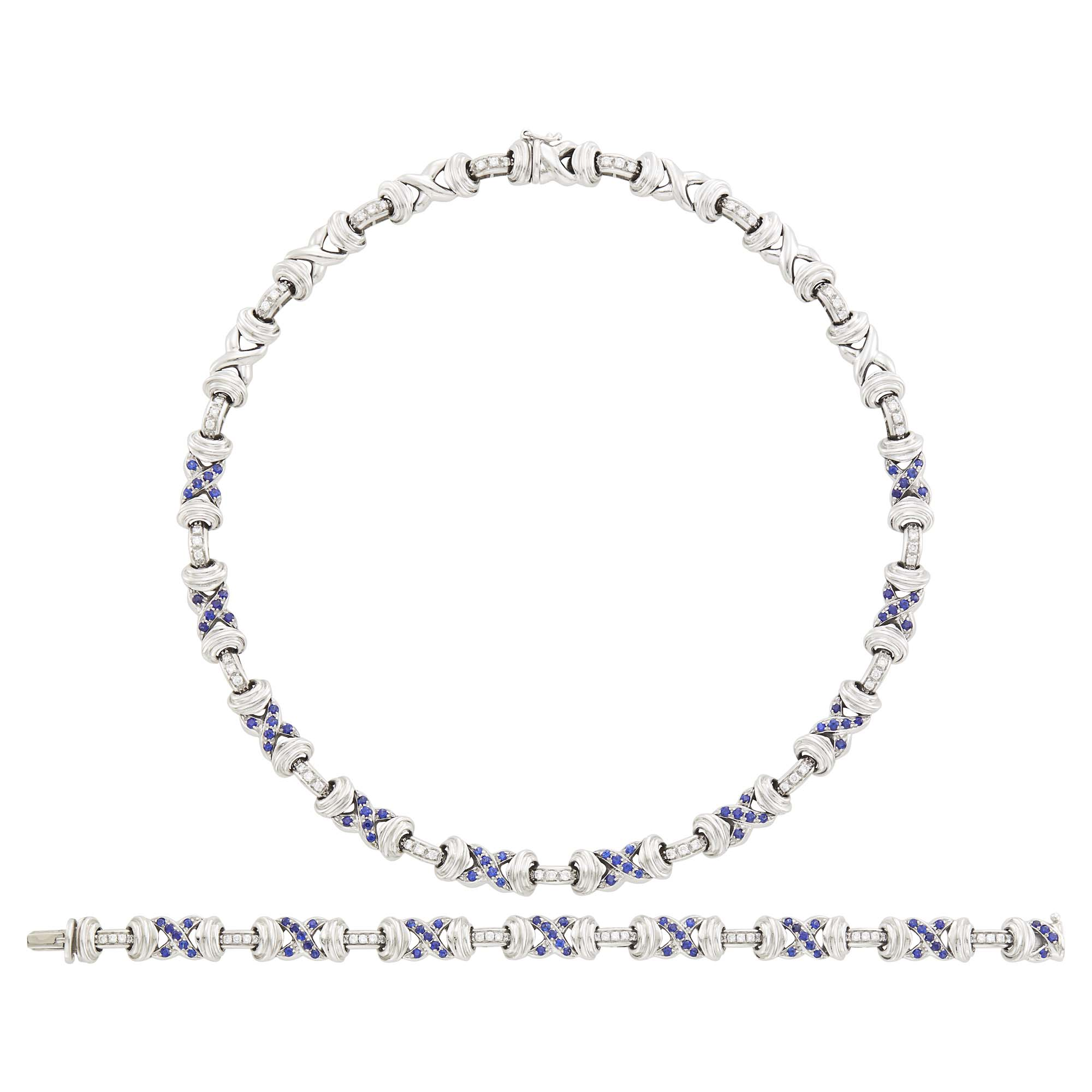 Lot image - White Gold, Diamond and Sapphire Necklace/Bracelet Combination