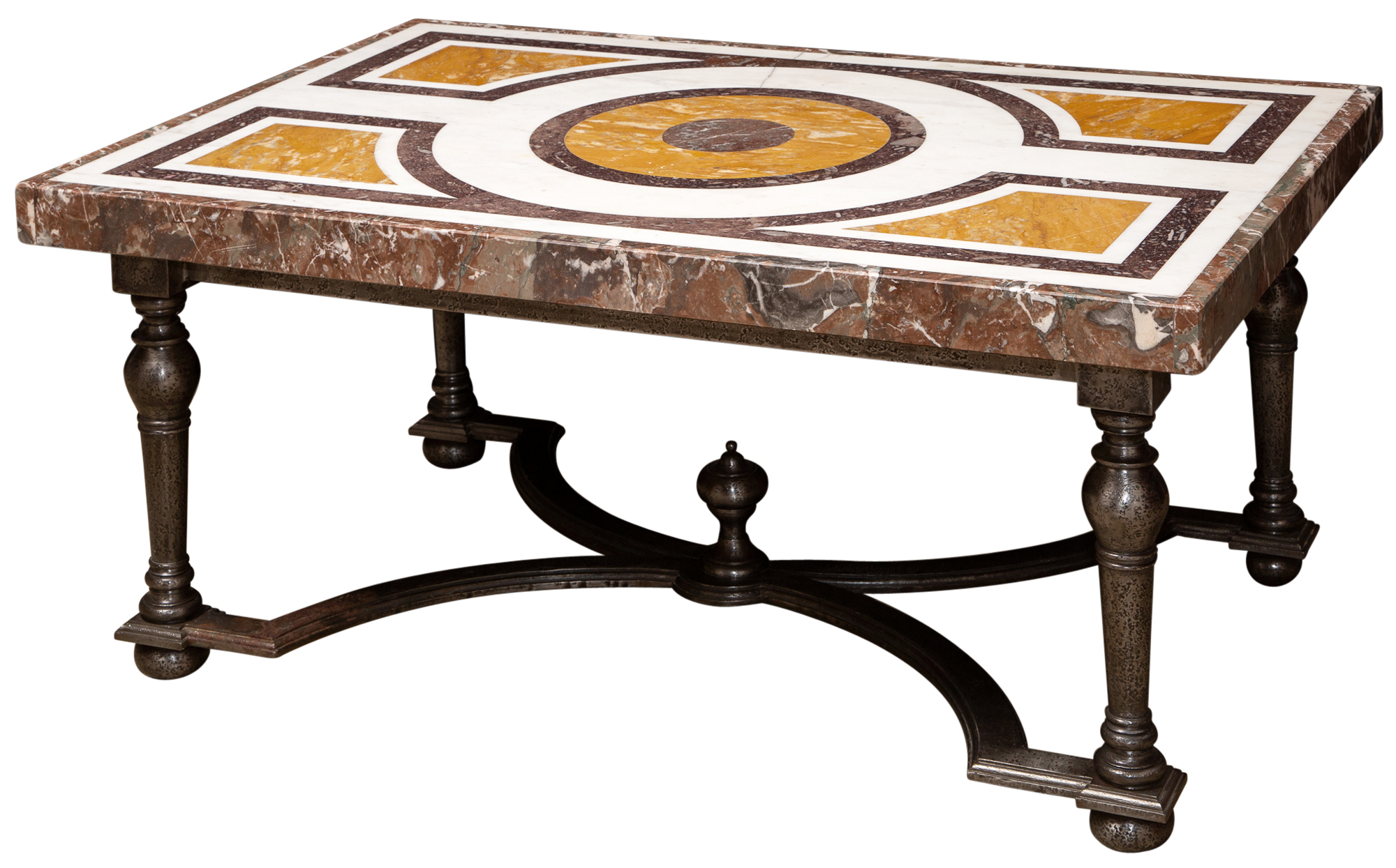 Lot image - Italian Inlaid Marble and Silvered Metal Low Table
