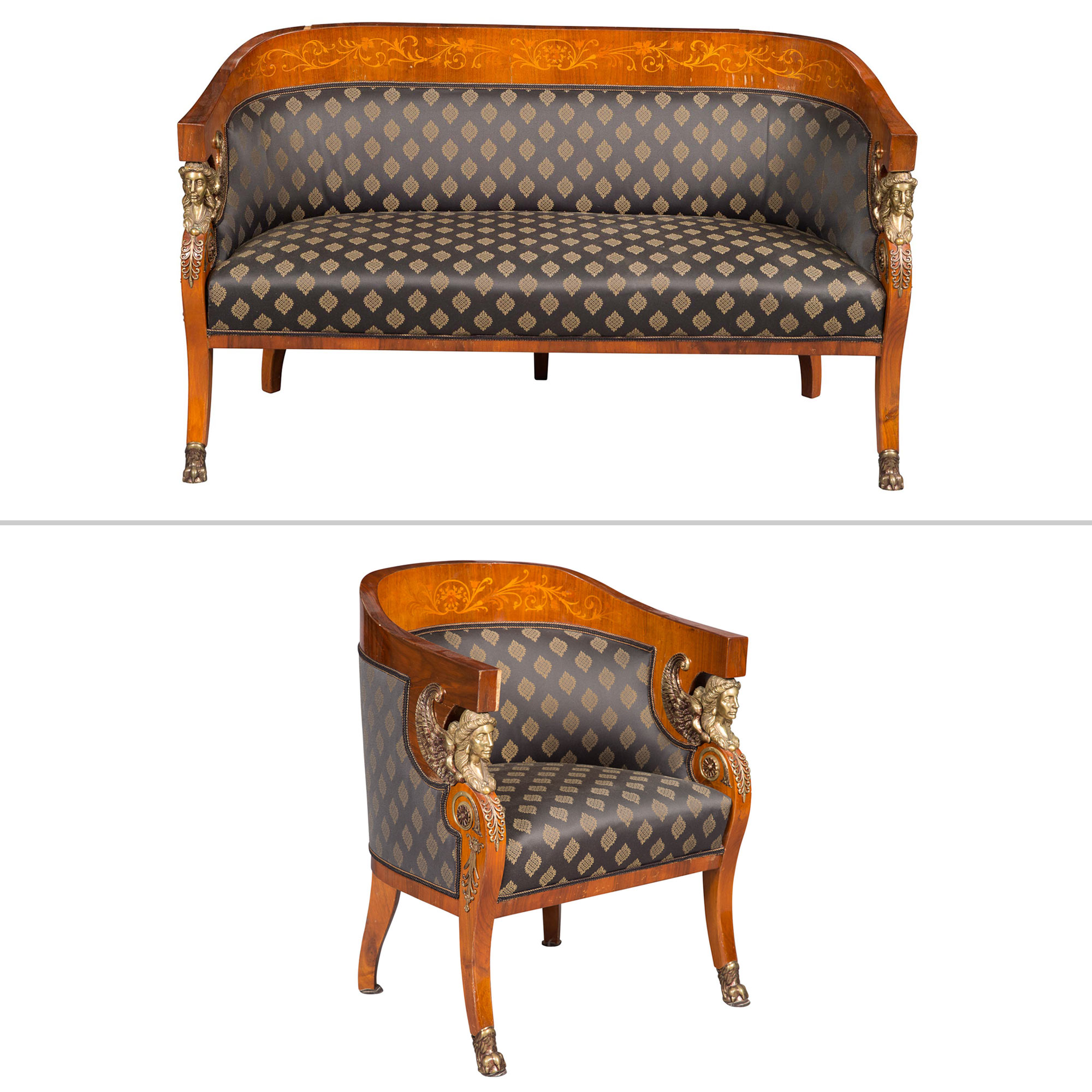 Lot image - Empire Style Gilt-Metal-Mounted Walnut and Marquetry Settee and Bergère