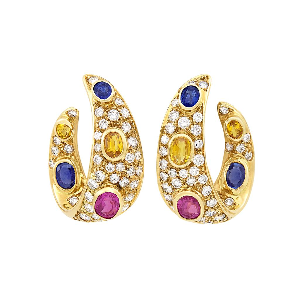Lot image - Pair of Gold, Multicolored Sapphire and Diamond Hoop Earclips