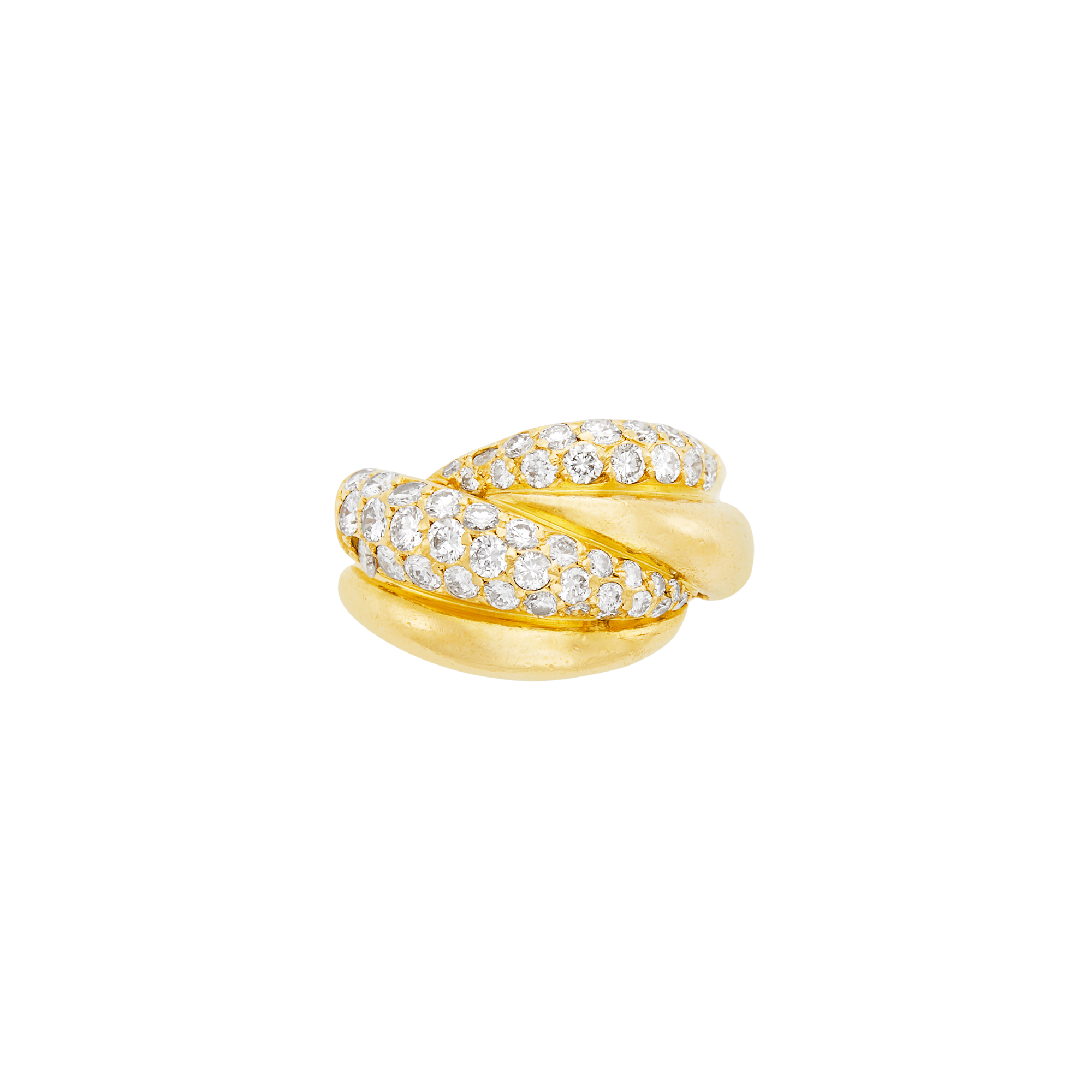 Lot image - Van Cleef & Arpels Gold and Diamond Bombé Ring, France