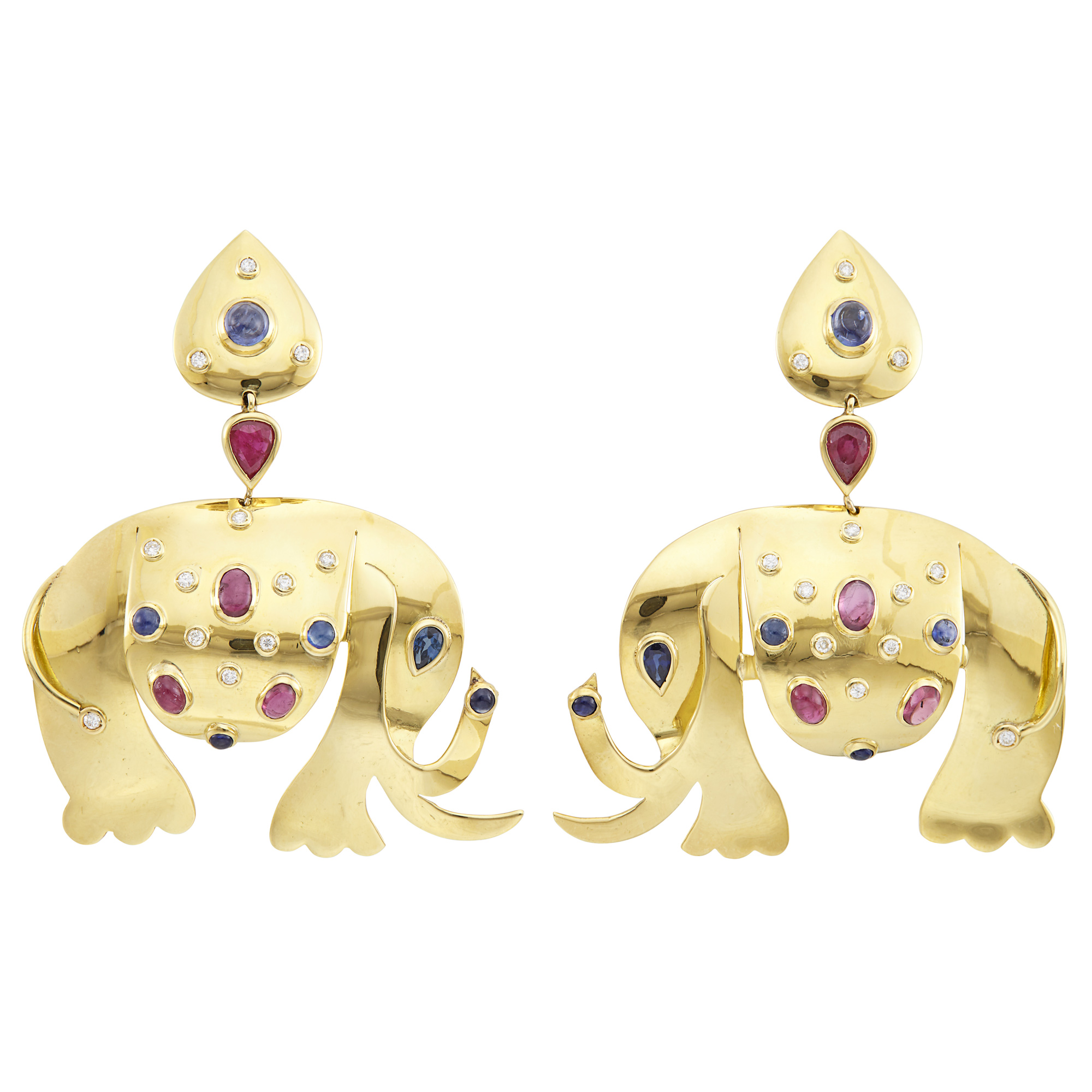 Lot image - Pair of Gold, Cabochon and Gem-Set and Diamond Elephant Pendant-Earclips