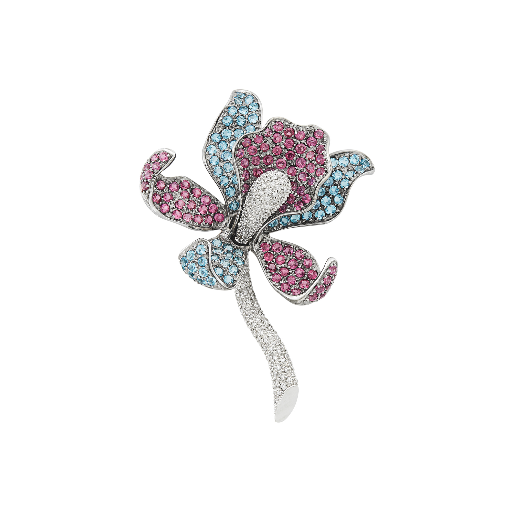 Lot image - Blackened and White Gold, Garnet, Blue Topaz and Diamond Orchid Brooch