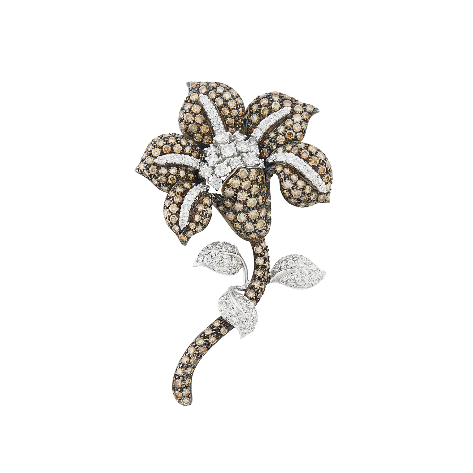 Lot image - Blackened and White Gold, Brown Diamond and Diamond Flower Clip-Brooch