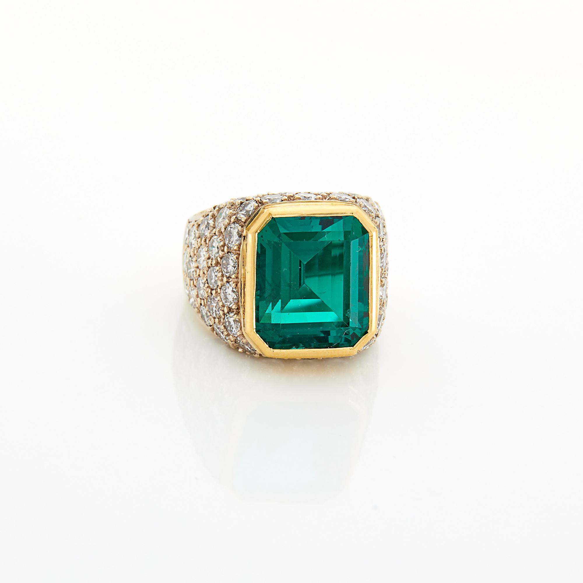 Lot image - Two-Color Gold, Synthetic Emerald and Diamond Ring