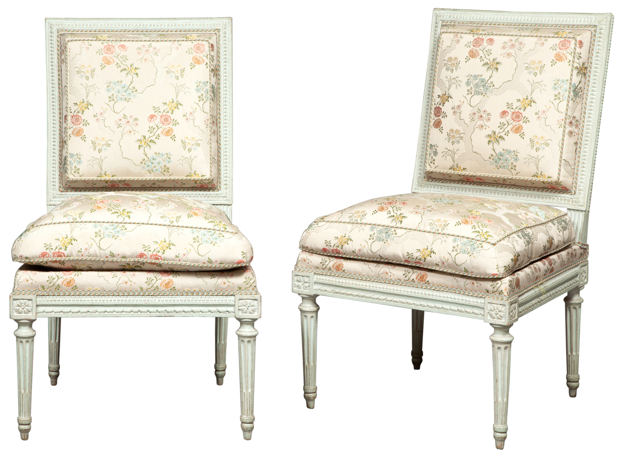 Lot image - Pair of Louis XVI Upholstered and Painted Side Chairs by Georges Jacob
