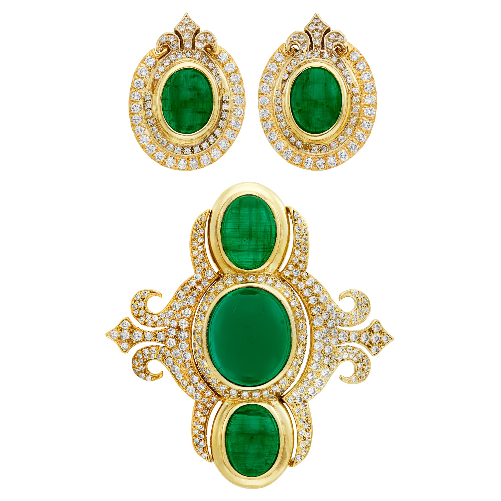 Lot image - Pair of Tricolor Gold, Synthetic Cabochon Emerald and Diamond Earclips and Brooch