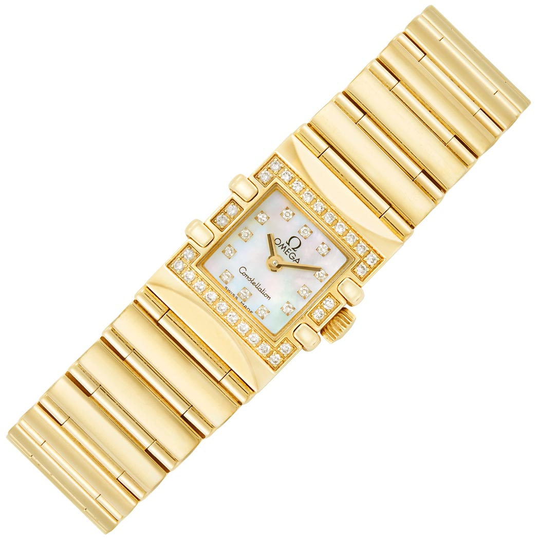 Lot image - Lady's Gold, Mother-of-Pearl and Diamond 'Constellation' Wristwatch, Omega