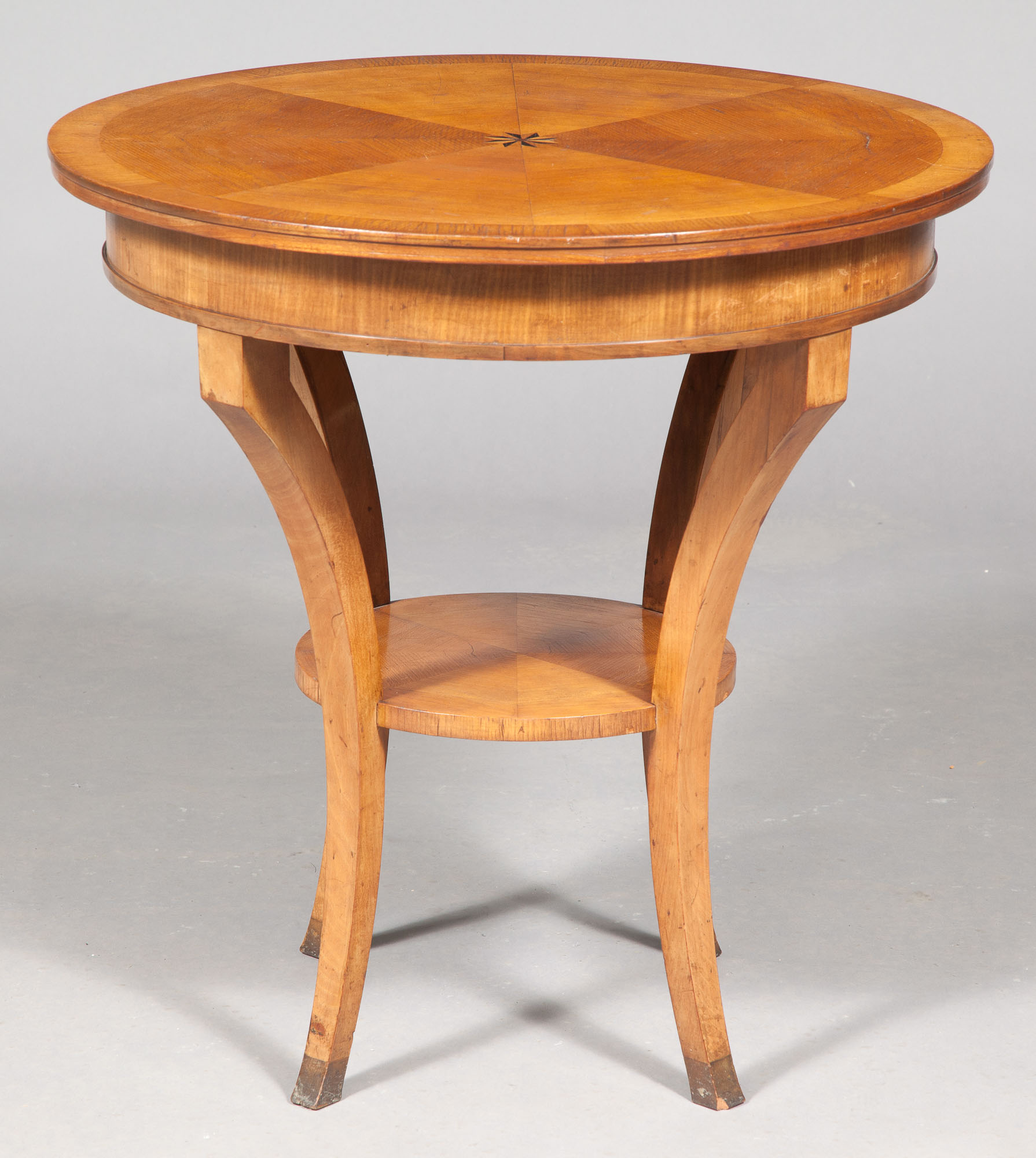 Lot image - Biedermeier Style Birch and Marquetry Circular Table