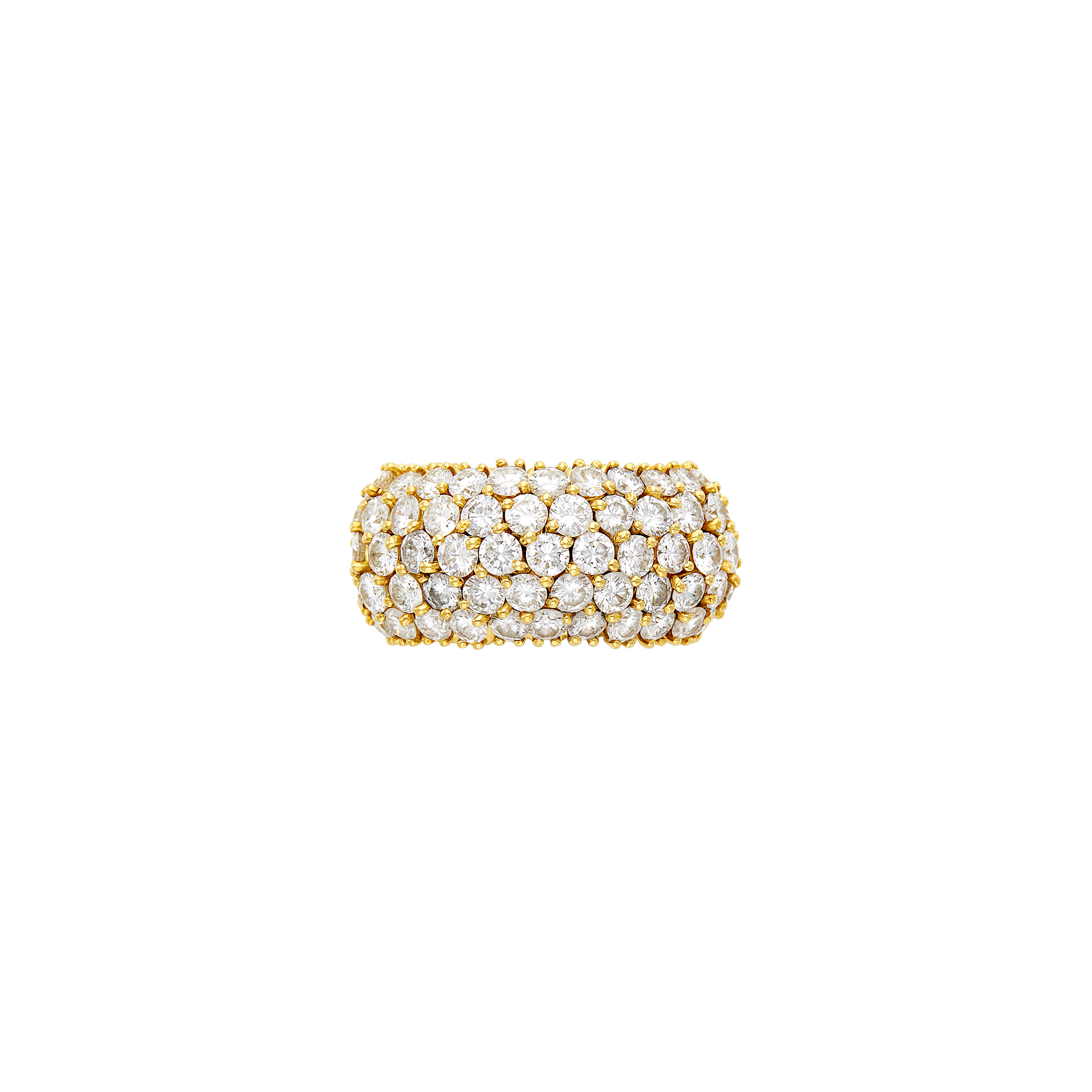 Lot image - Flexible Wide Gold and Diamond Band Ring