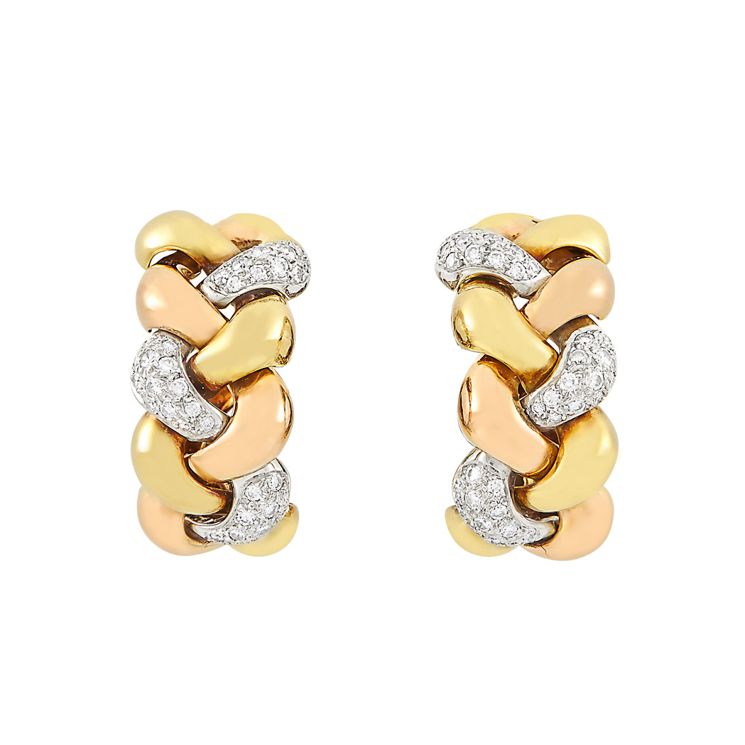 Lot image - Pair of Tricolor Gold and Diamond Hoop Earclips, Poiray, France