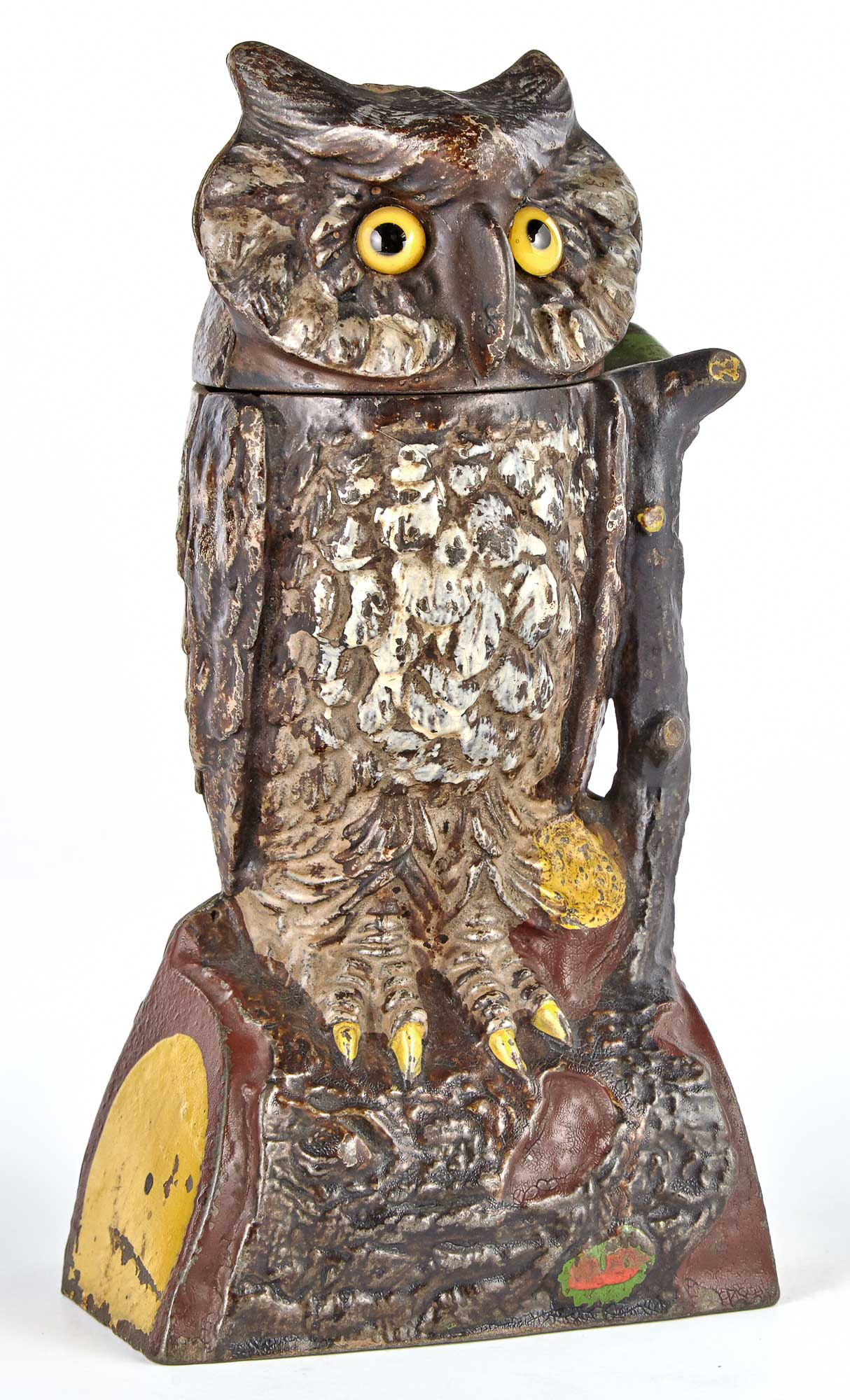 Lot image - Owl Turns Head Cast Iron Mechanical Bank