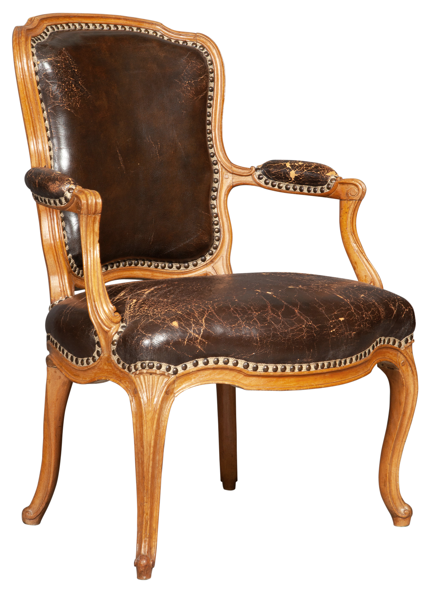 Lot image - Louis XV Leather-Upholstered Beechwood Fauteuil en Cabriolet by Nicolas-Quinibert Foliot