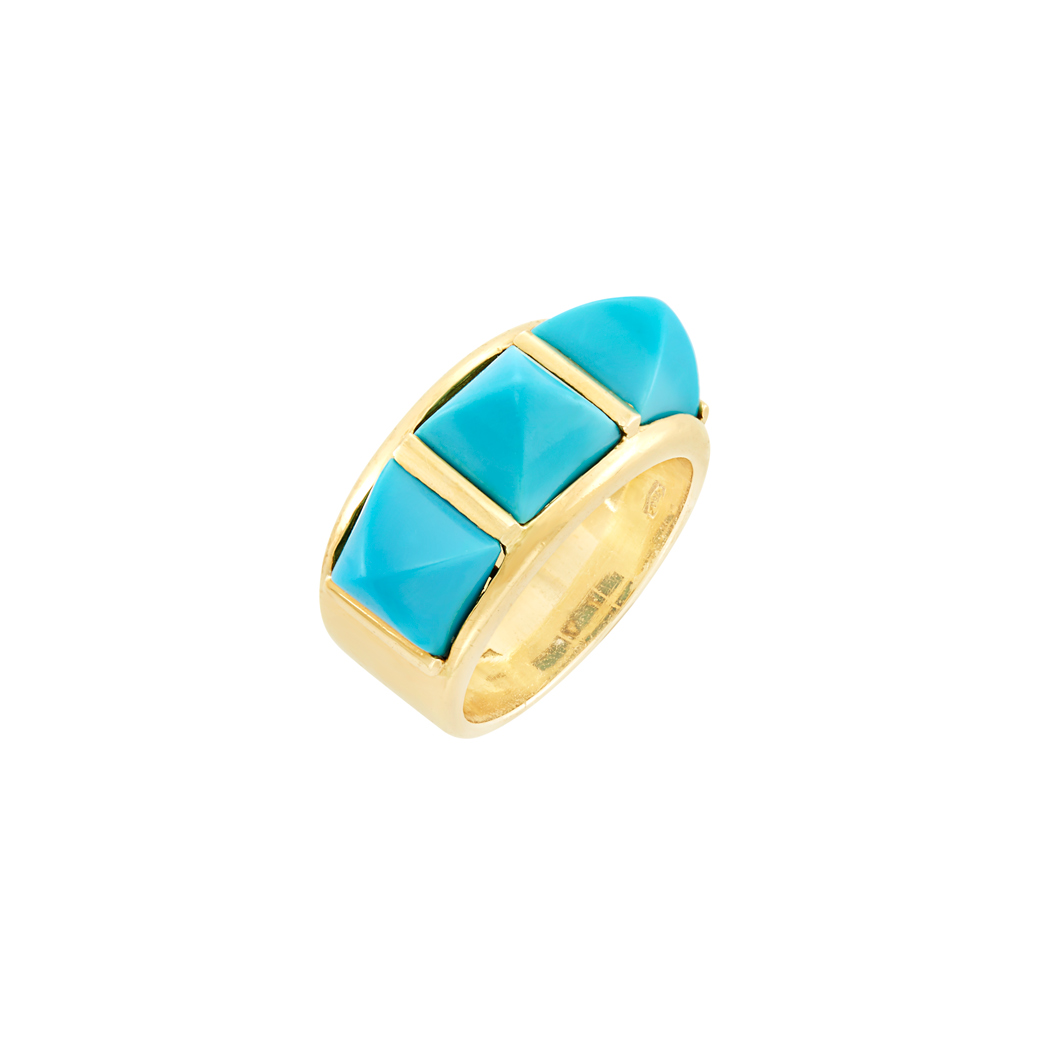 Lot image - Gold and Turquoise Ring