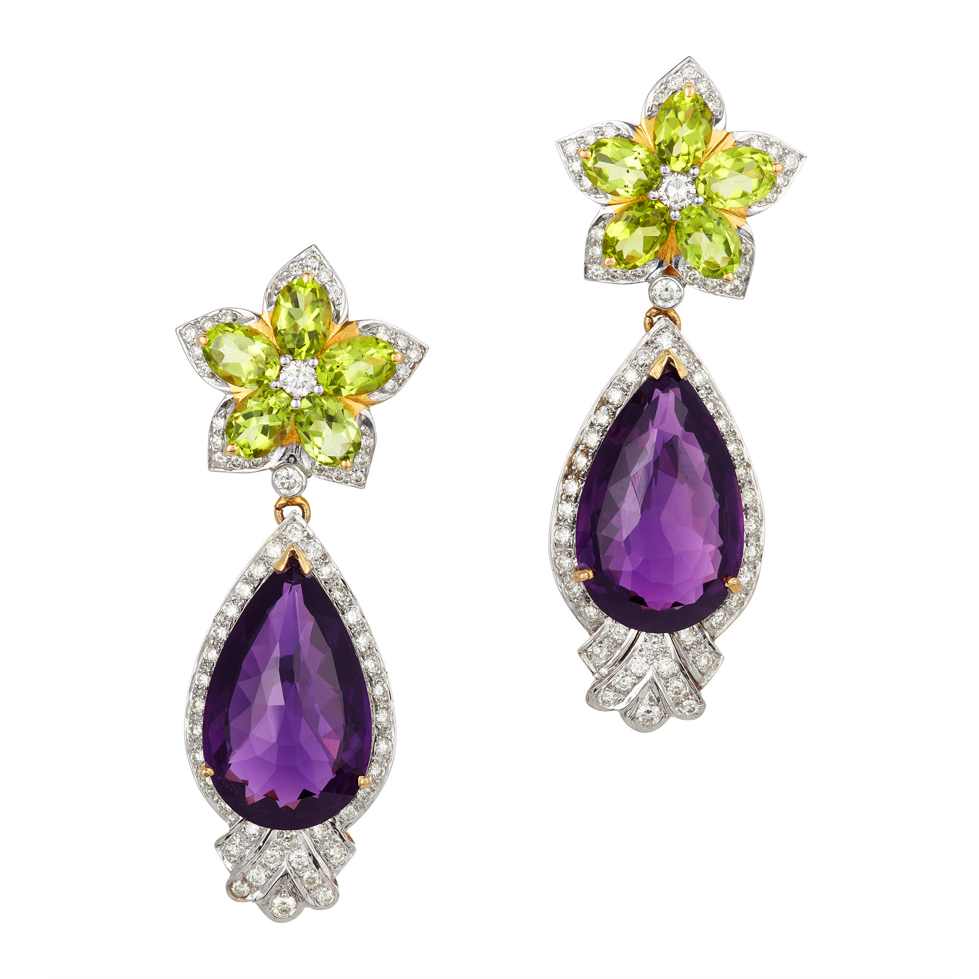 Lot image - Pair of Two-Color Gold, Amethyst, Peridot and Diamond Pendant-Earrings