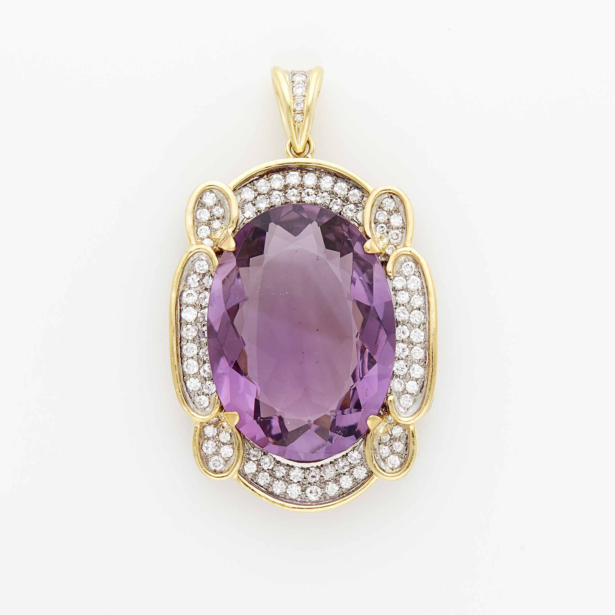 Lot image - Two-Color Gold, Amethyst and Diamond Pendant