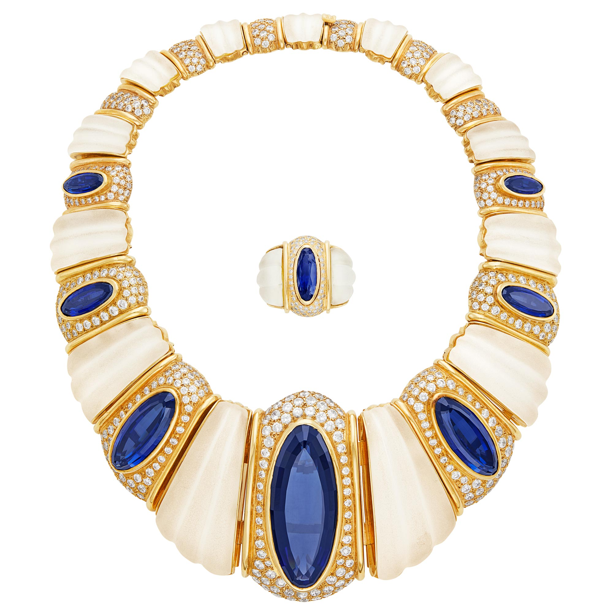 Lot image - Gold, Frosted Rock Crystal, Synthetic Sapphire and Cubic Zirconia Necklace and Ring