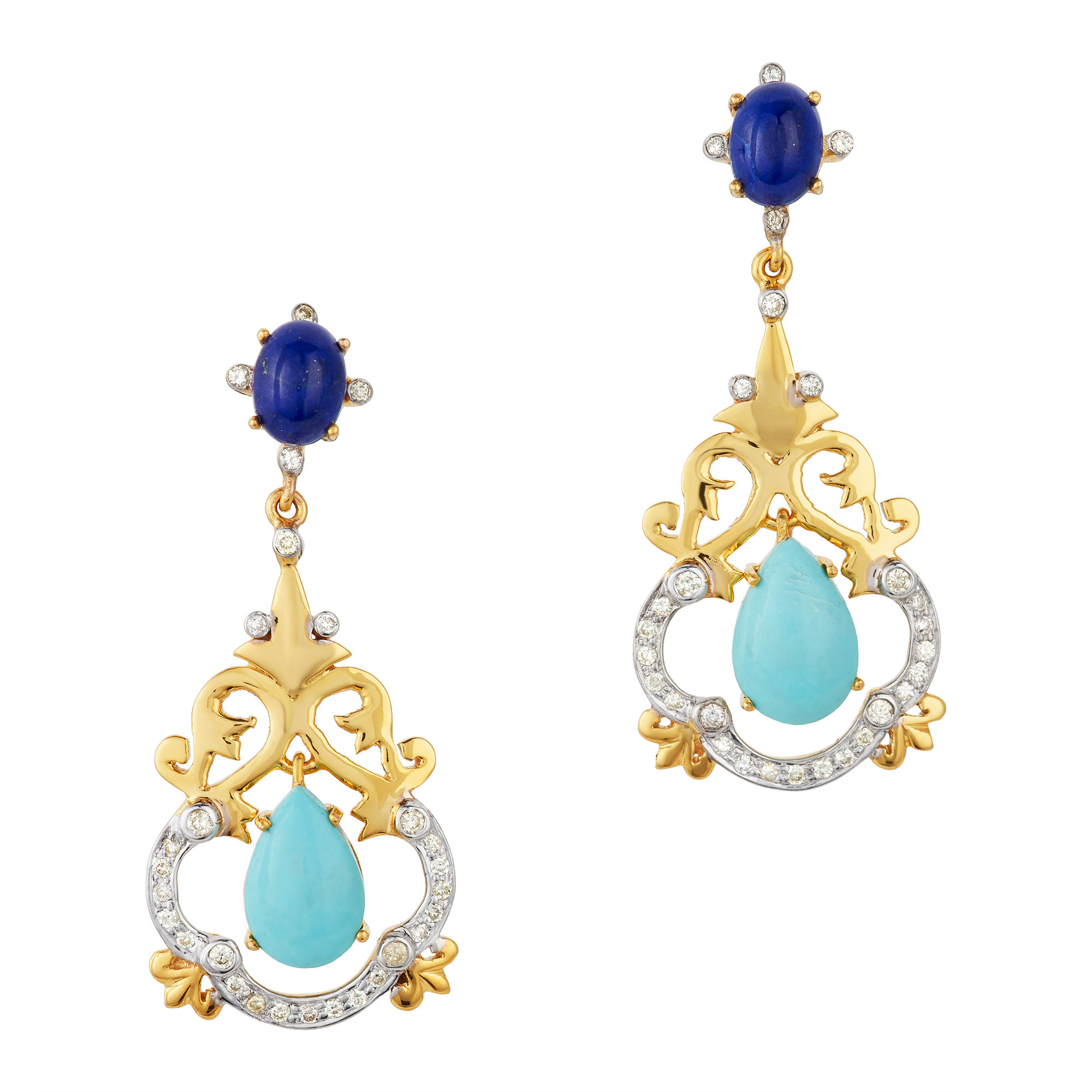Lot image - Pair of Two-Color Gold, Turquoise, Lapis and Diamond Pendant-Earrings