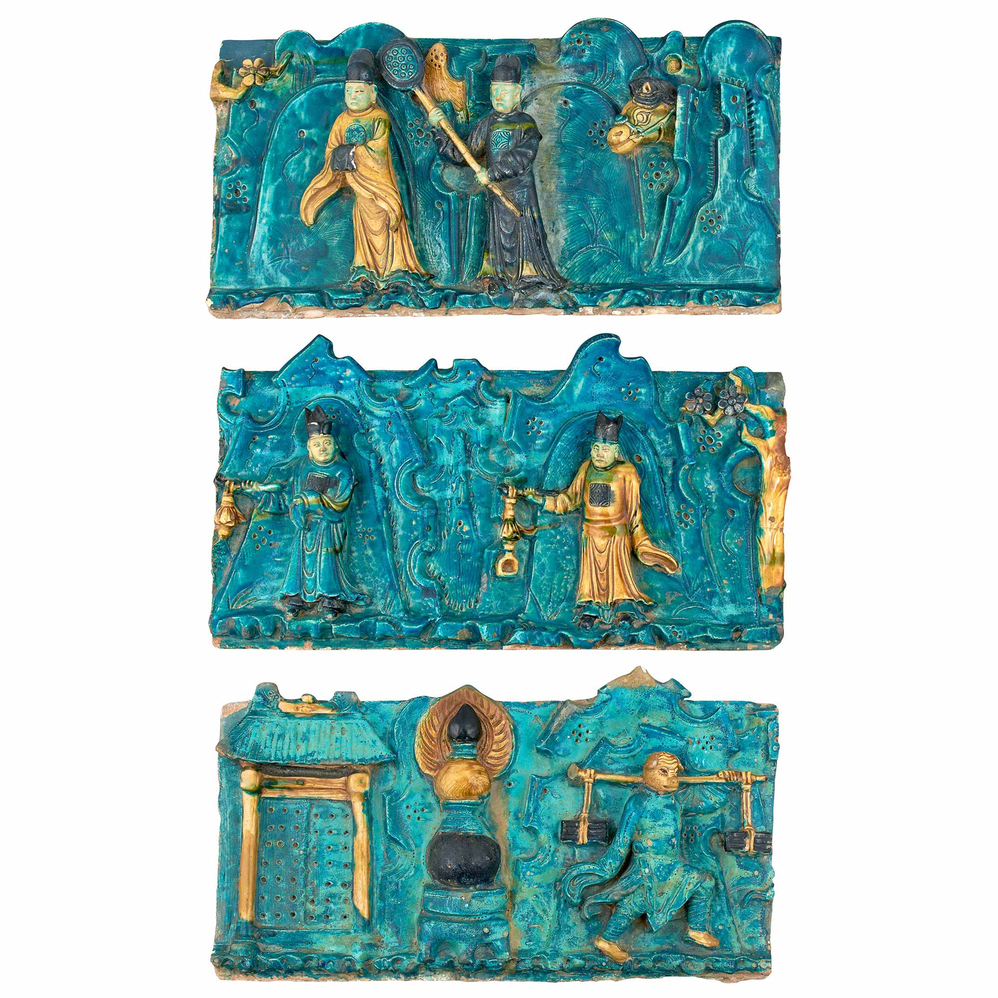 Lot image - Group of Three Chinese Turquoise, Yellow, Green and Aubergine Glazed Wall Tiles