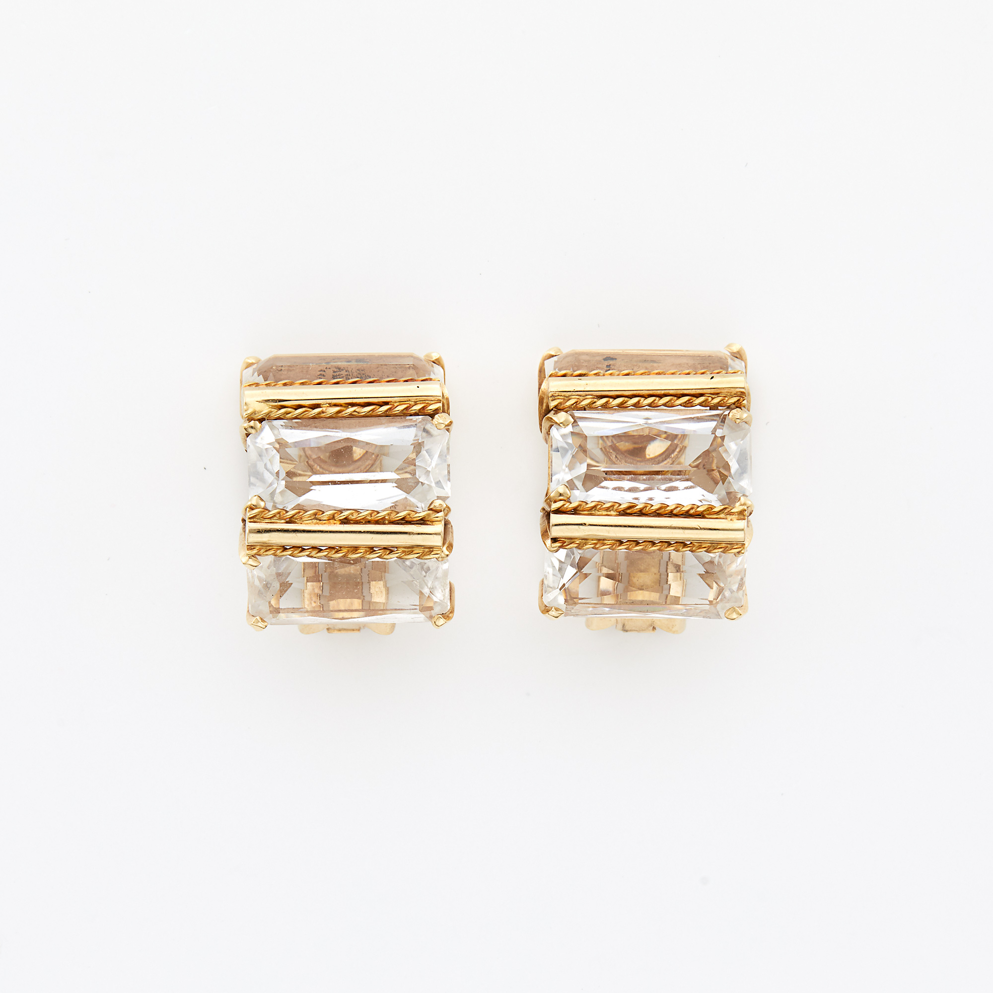 Lot image - Gold and Quartz Earrings