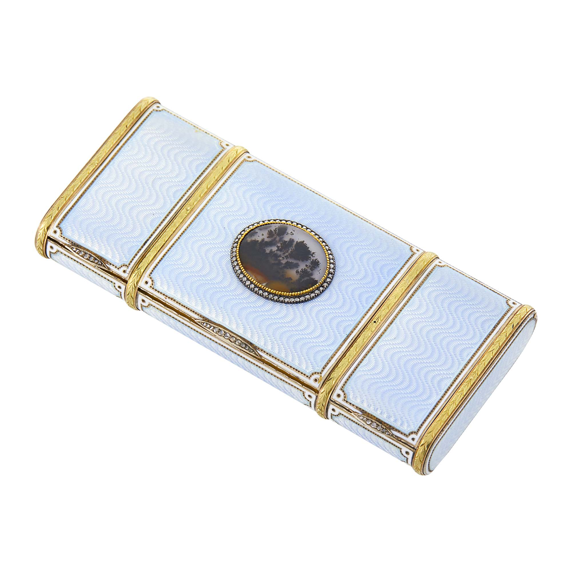 Lot image - Russian Gold, Silver-Gilt, Guilloché and Champlevé Enamel and Moss Agate Vanity Case