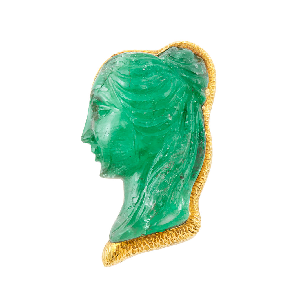 Lot image - Gold and Carved Emerald Pendant Clip-Brooch, David Webb