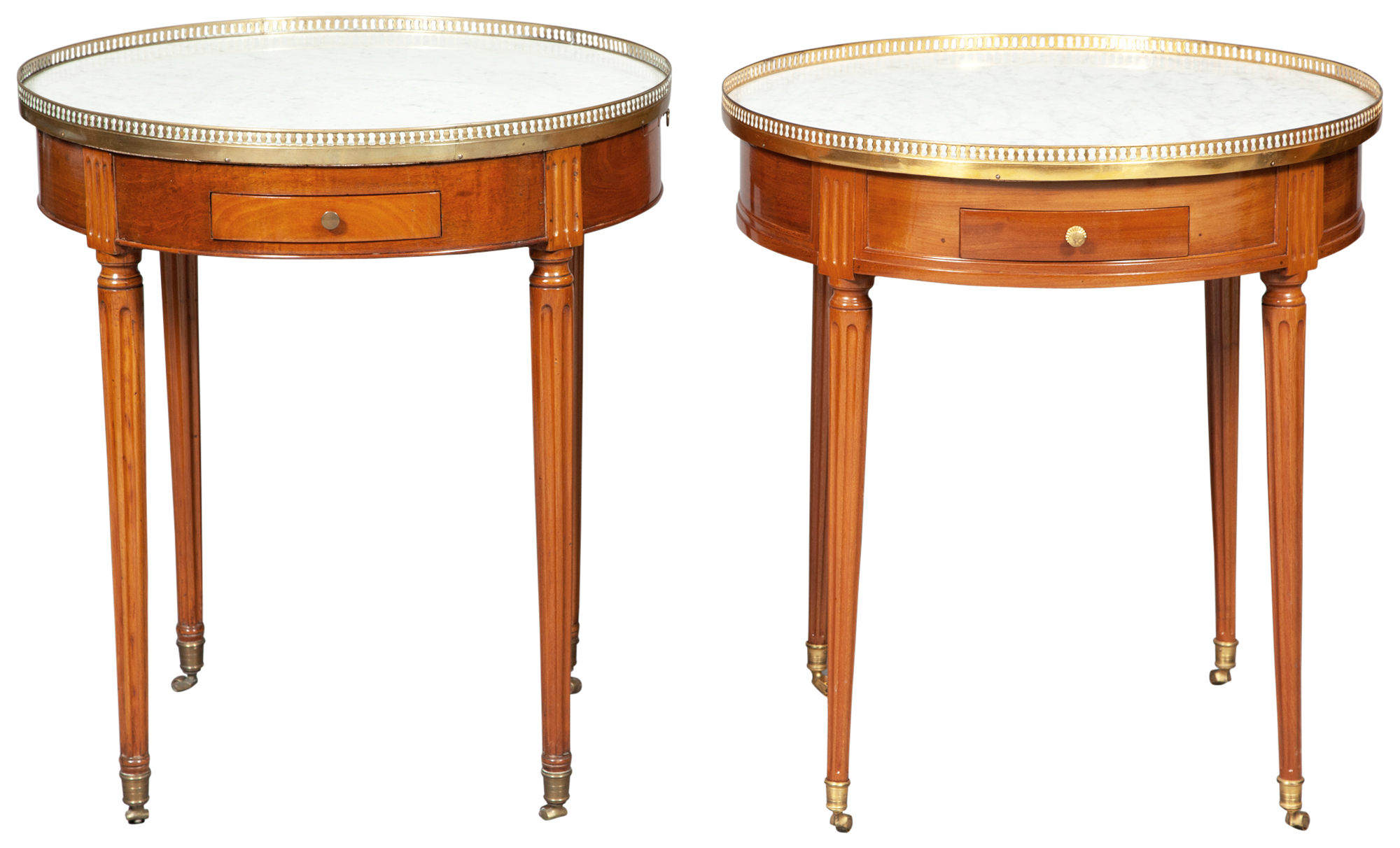 Lot image - Assembled Pair of Louis XVI Mahogany Bouillotte Tables