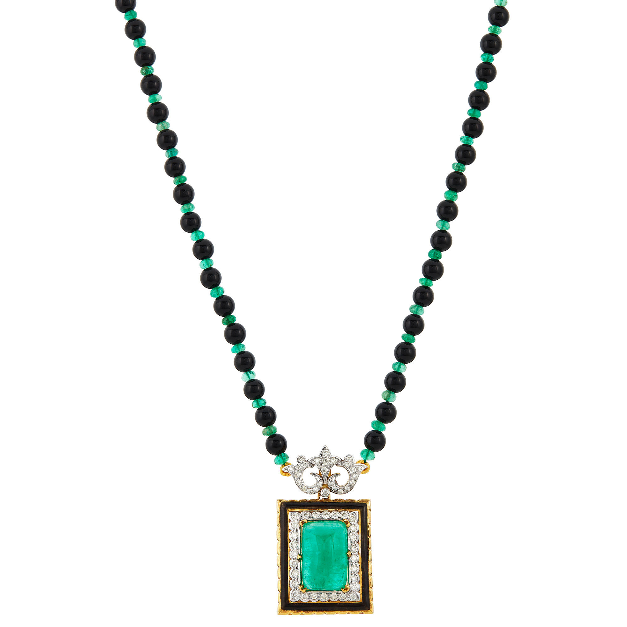Lot image - Two-Color Gold, Black Onyx and Emerald Bead, Diamond, Emerald, Diamond and Black Enamel Pendant-Necklace
