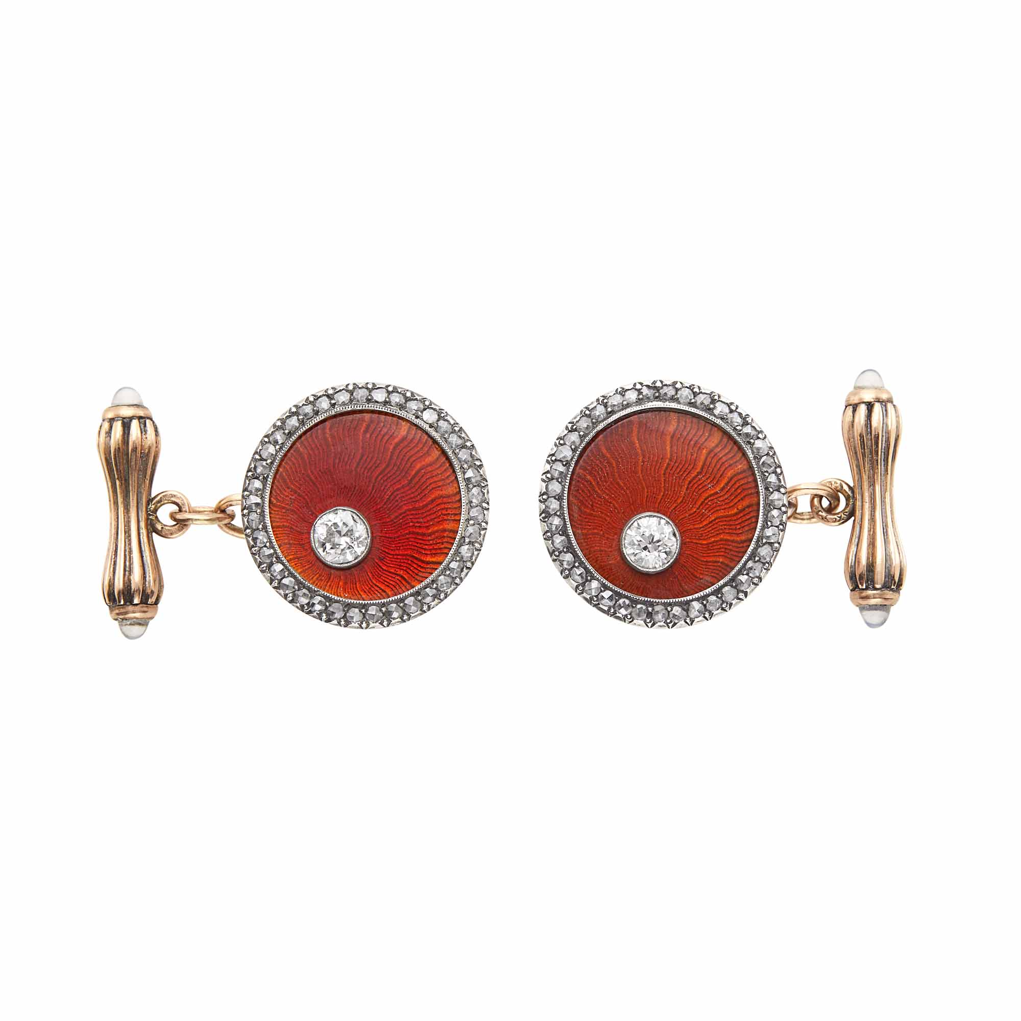 Lot image - Pair of Fabergé Jeweled Silver-Topped Gold and Guilloché Enamel Cufflinks