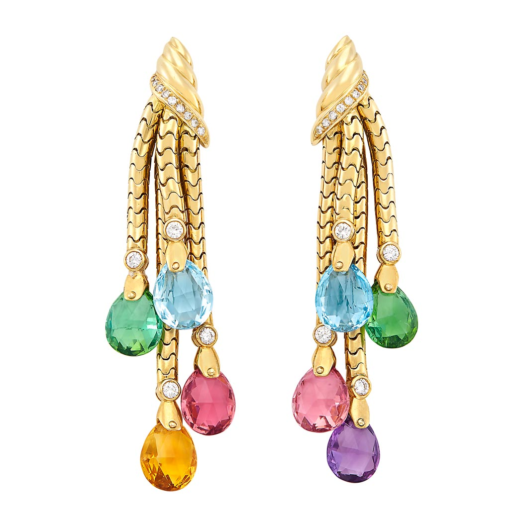 Lot image - Pair of Gold, Multicolored Stone Briolette and Diamond Fringe Earrings