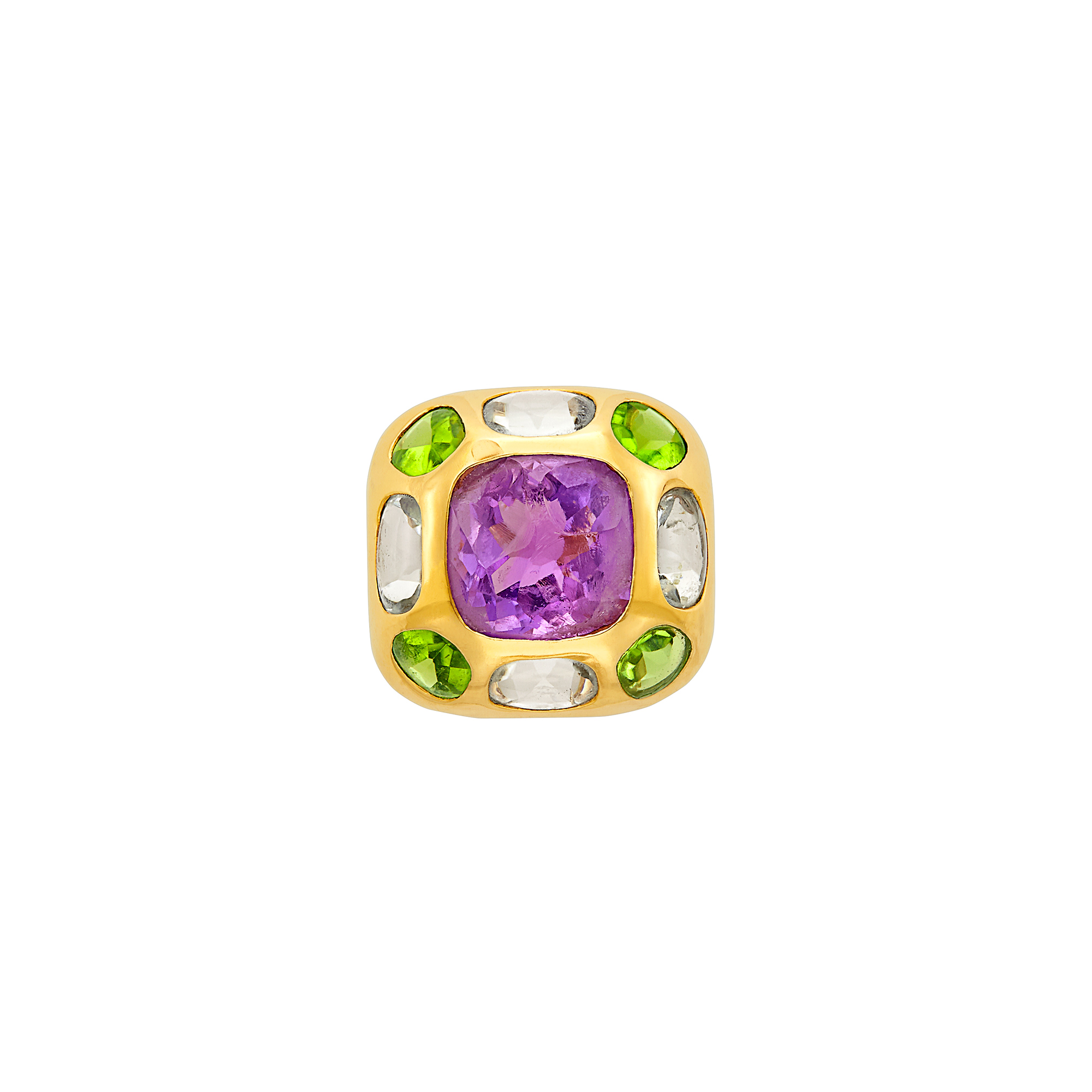 Lot image - Gold, Amethyst, Peridot and Aquamarine Baroque Ring, Chanel, France