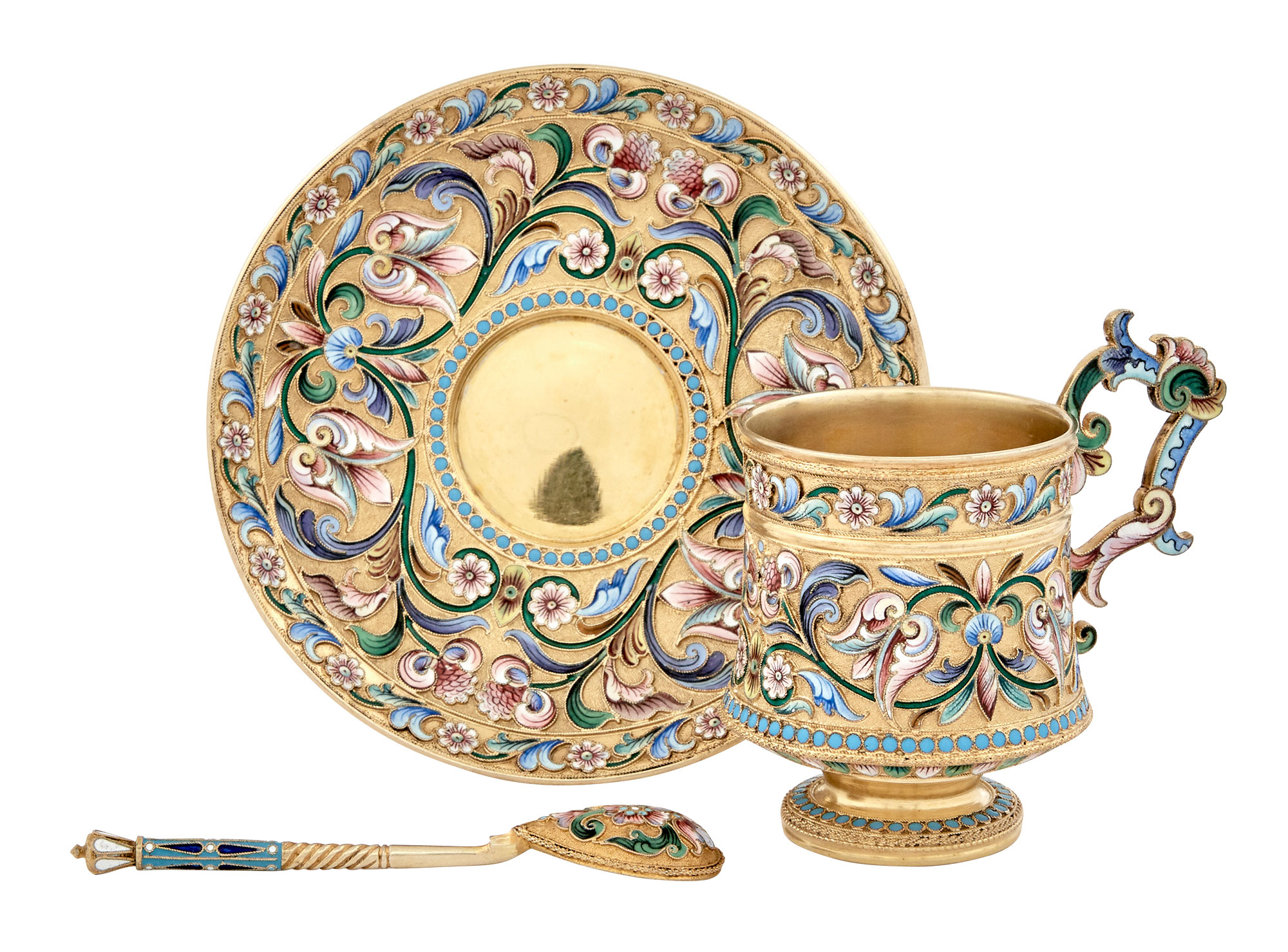Lot image - Russian Silver-Gilt and Cloisonné Enamel Cup, Saucer and Spoon