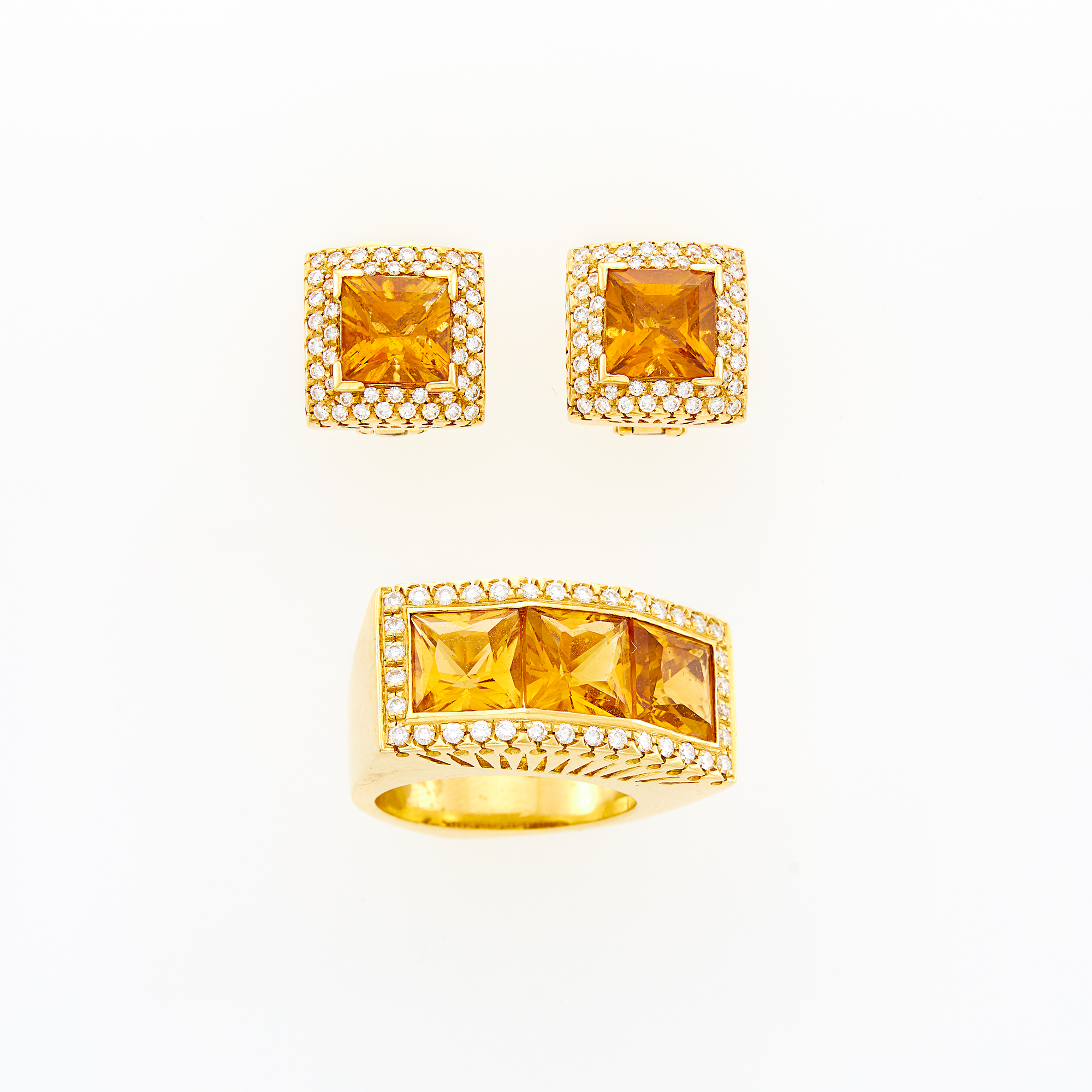 Lot image - Pair of Gold, Citrine and Diamond Earrings and Ring