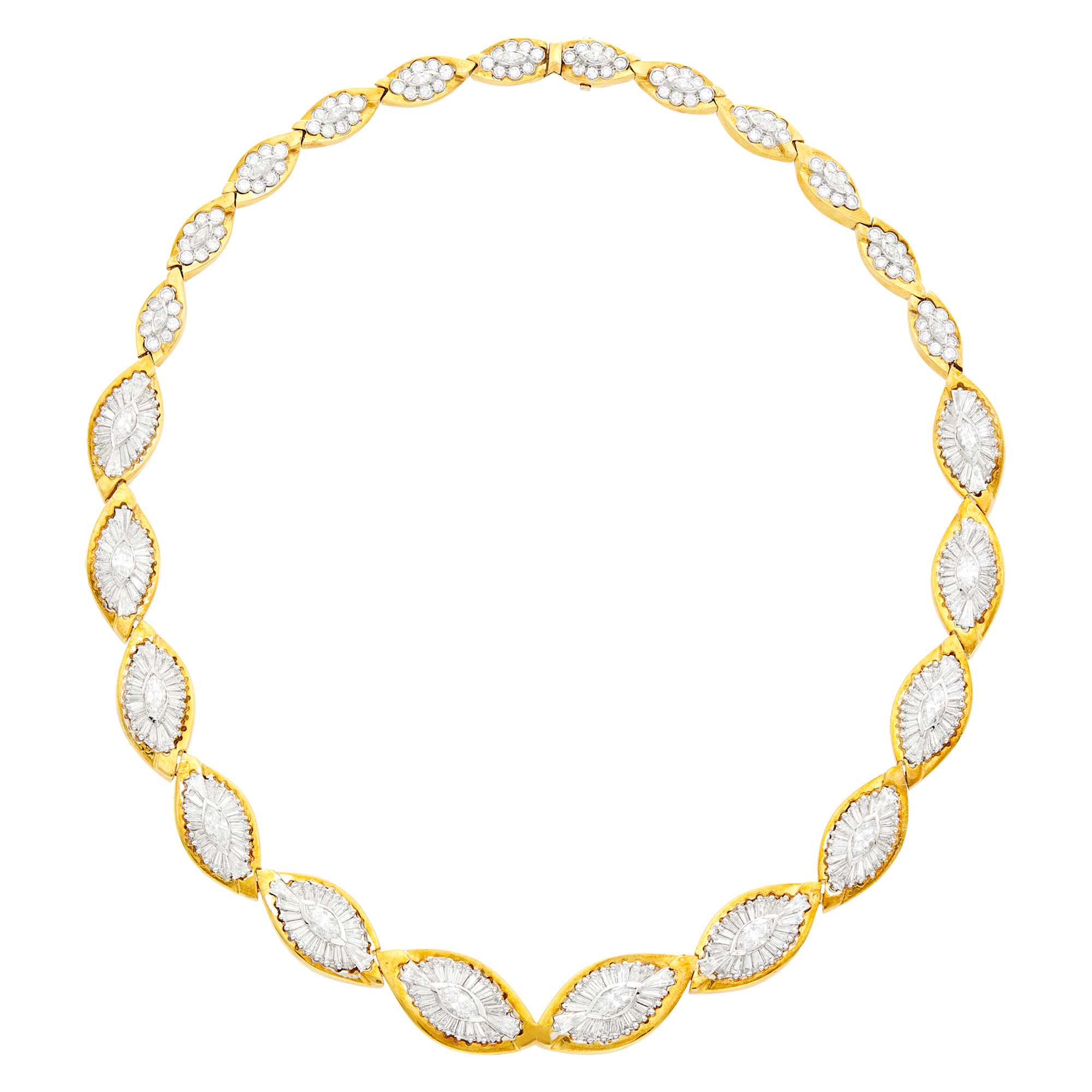 Lot image - Gold, Platinum and Diamond Necklace