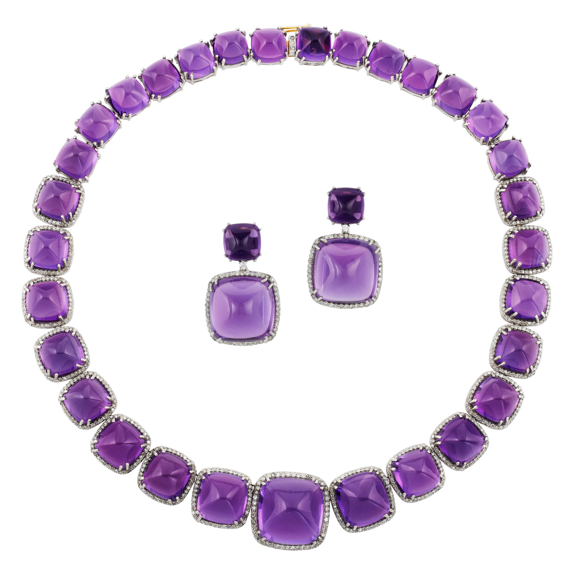 Lot image - Gold, Silver, Amethyst and Diamond Necklace and Pair of Pendant-Earrings