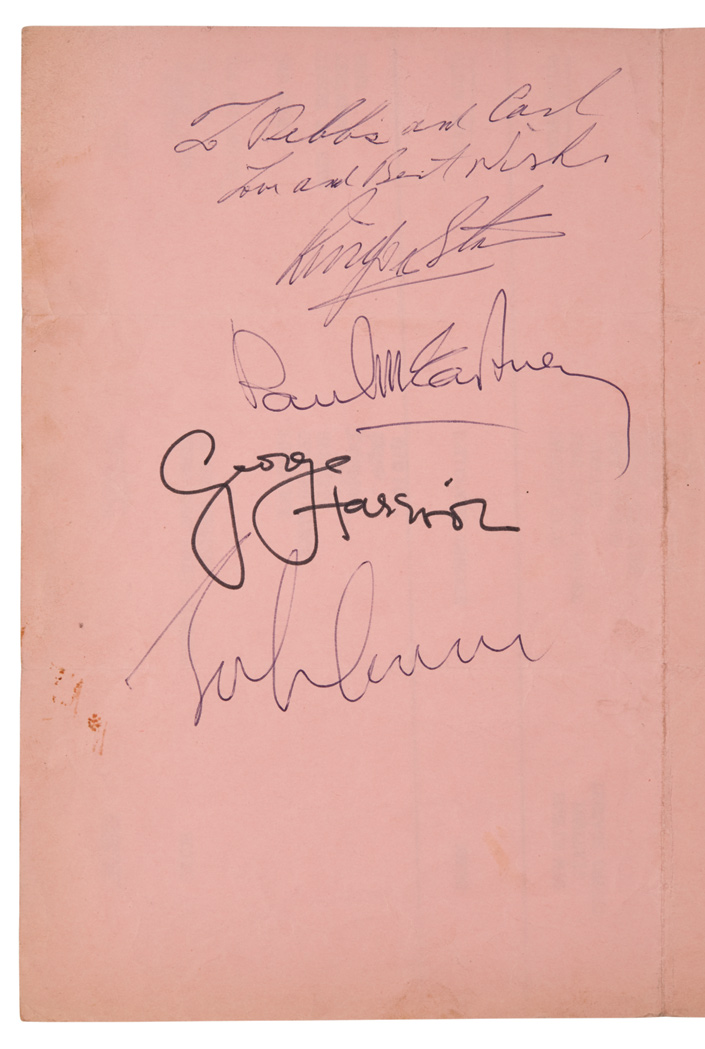 Lot image - [THE BEATLES]  Ed Sullivan Show cue sheet for the Beatles 12 September 1965 broadcast, signed by each member of the group.