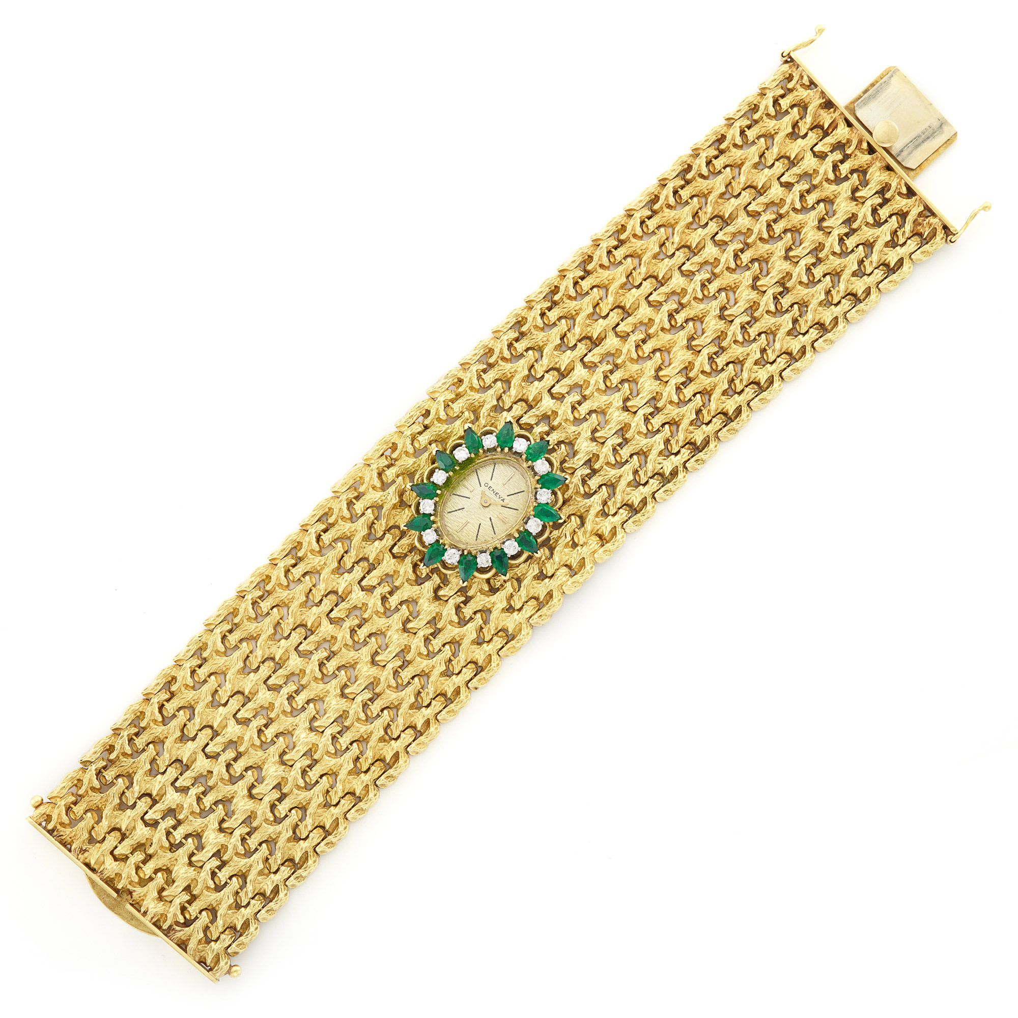 Lot image - Wide Gold, Simulated Emerald and Diamond Bracelet-Watch