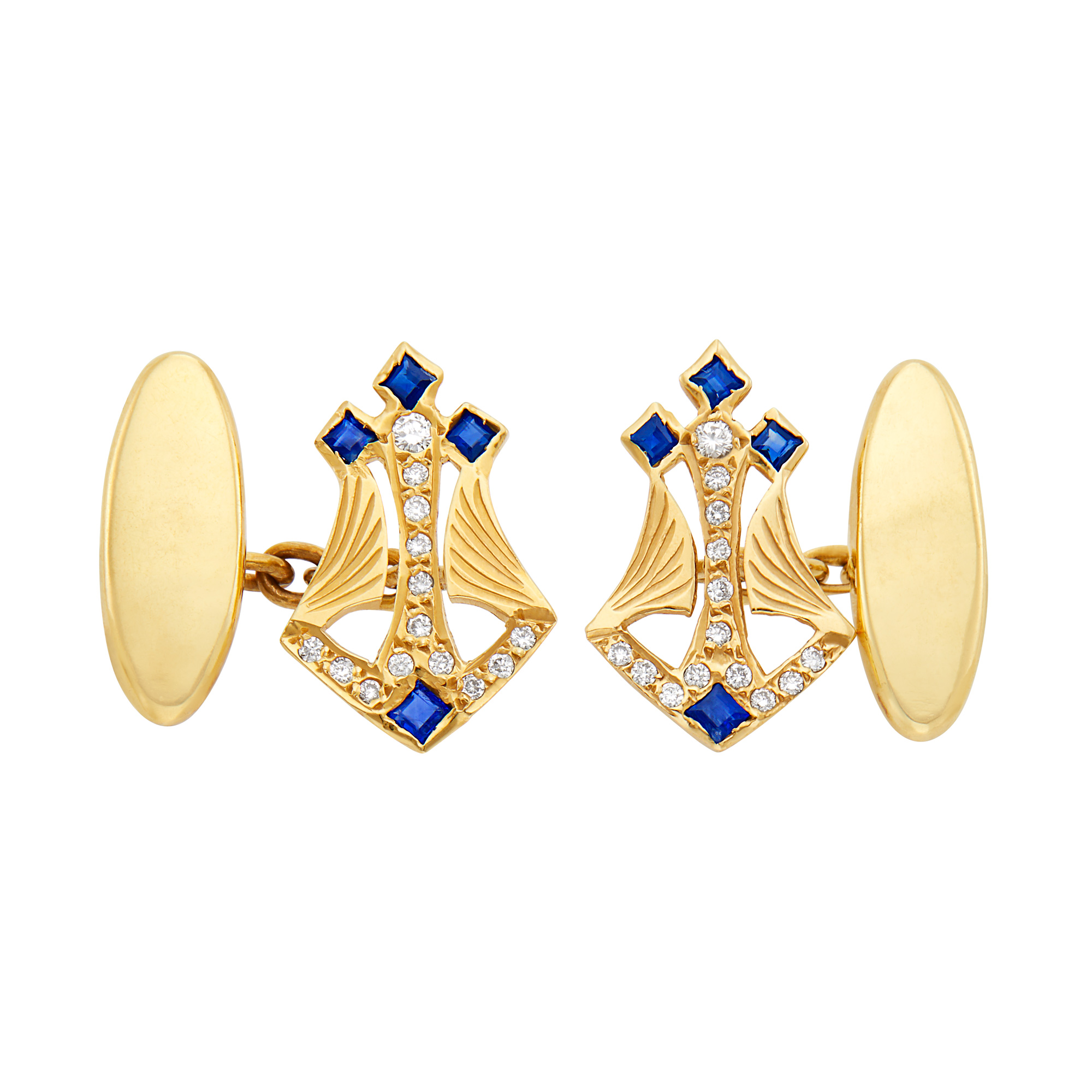 Lot image - Pair of Gold, Diamond and Sapphire Cufflinks