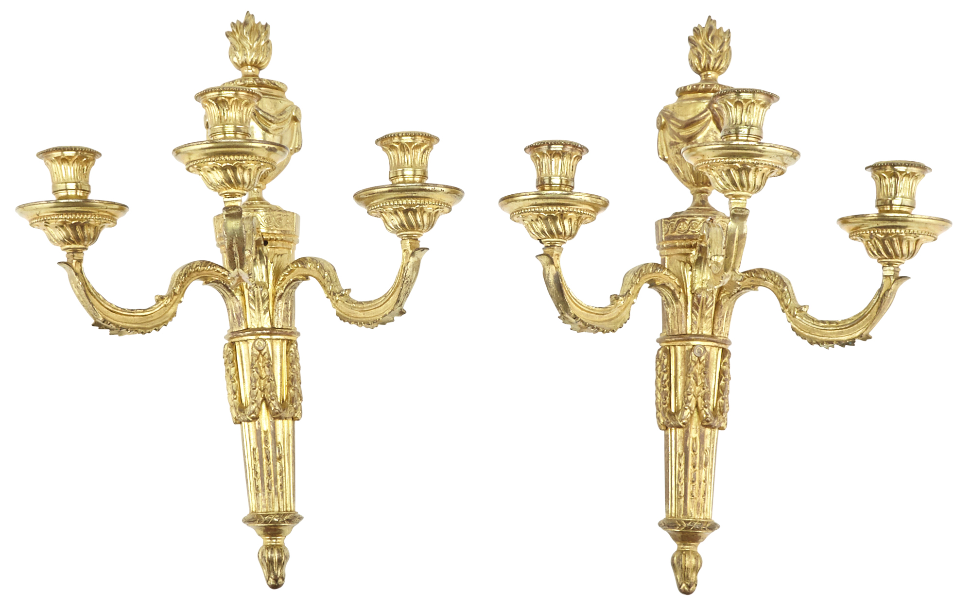 Lot image - Pair of Louis XVI Style Gilt-Bronze Three-Branch Wall Lights