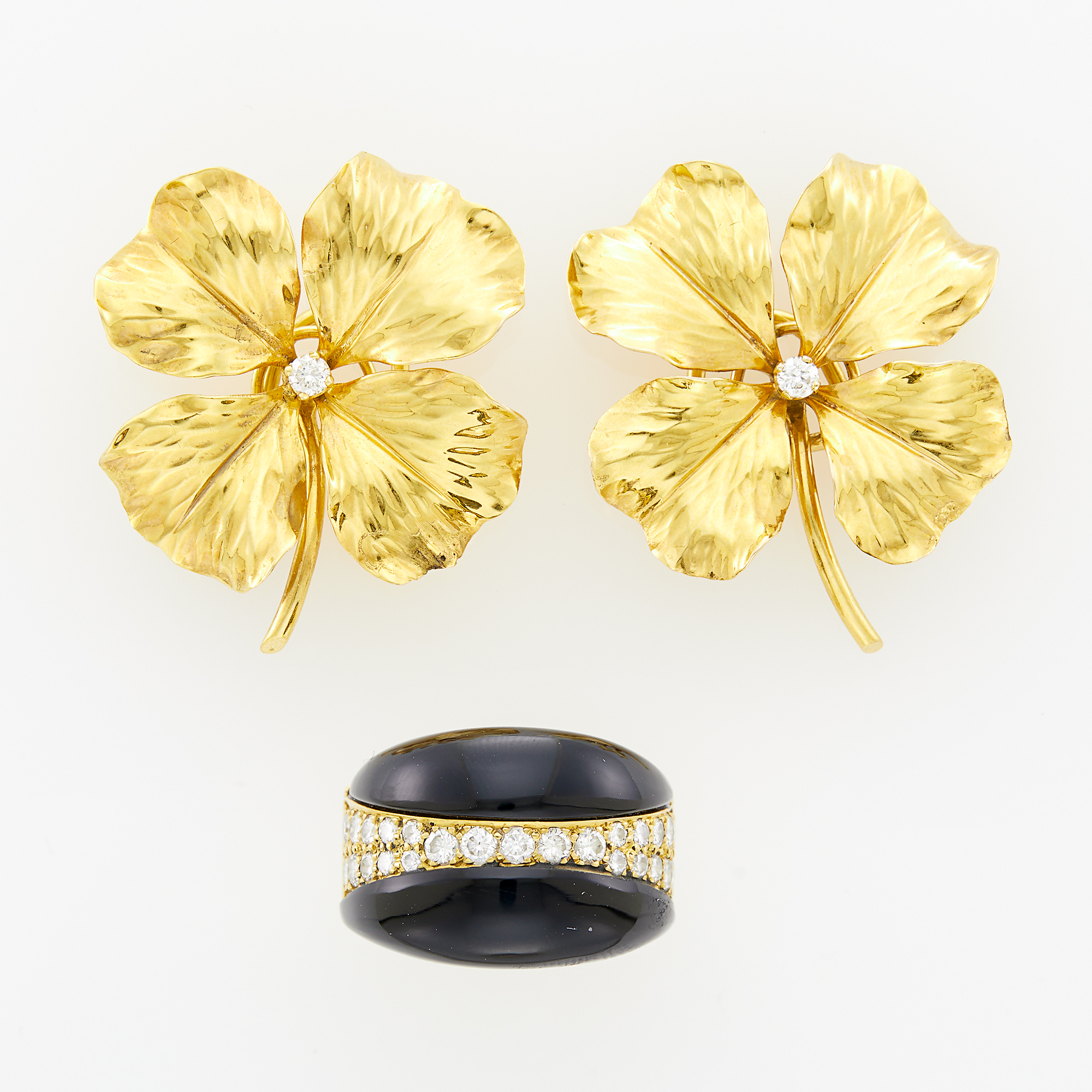 Lot image - Pair of Gold and Diamond Flower Earclips and Black Onyx and Diamond Ring